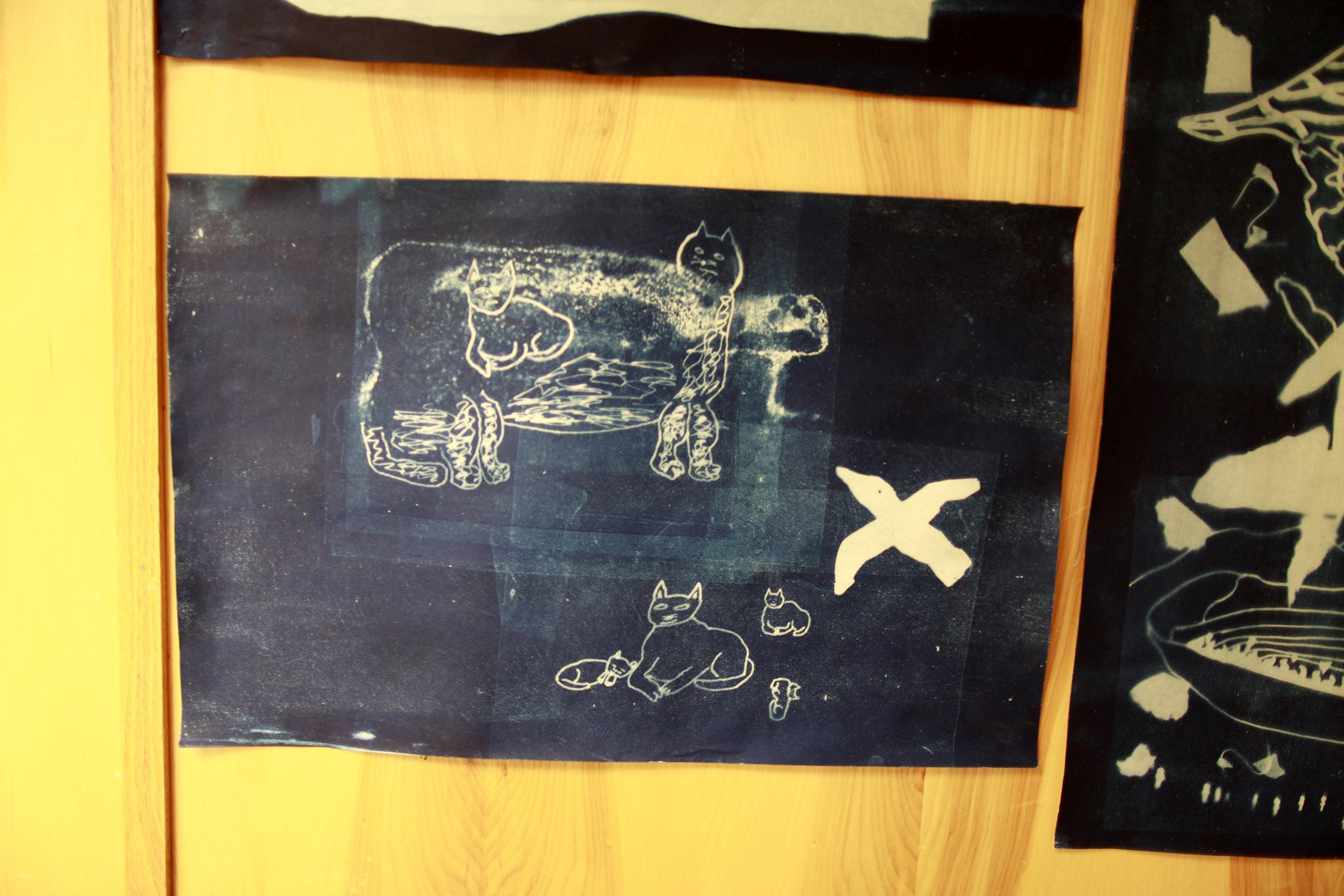 "Untitled (Cats)   Harry Josephie  Cyanotype print  12 x 18"""