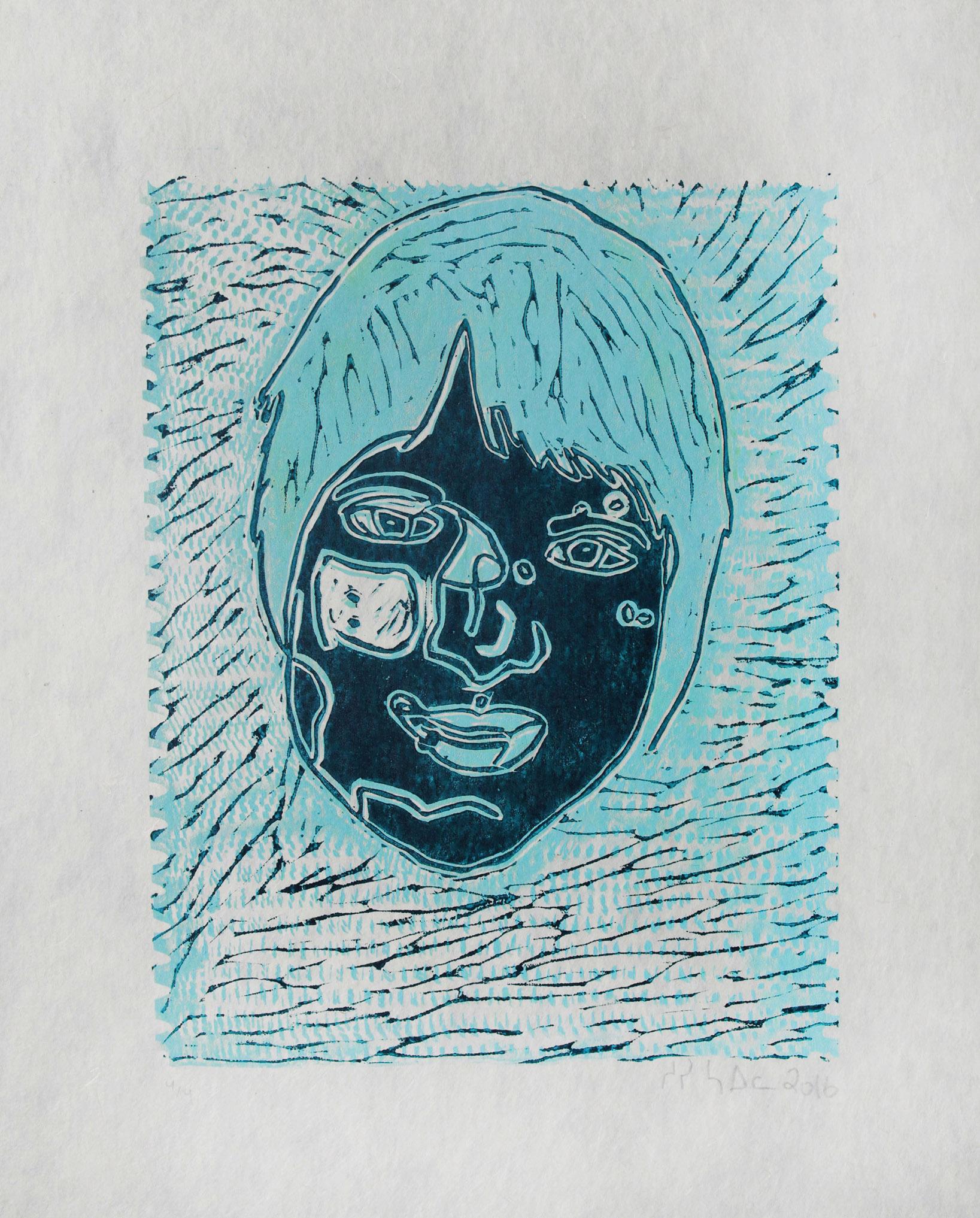 "Uvanga: Self-Portrait   Susie Saila  Two-Layer Linocut Print on Washi  15.5 x 21.5"""