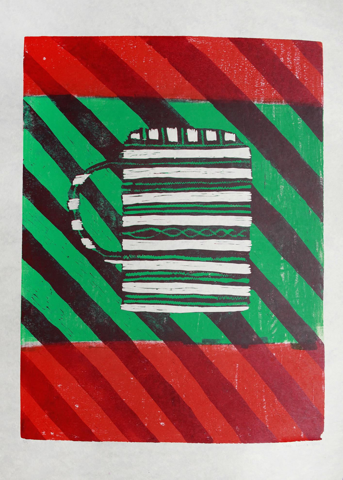 "Achoo   Saaki Nuna  Two-Layer Linocut Print on Washi  21.5 x 31"""