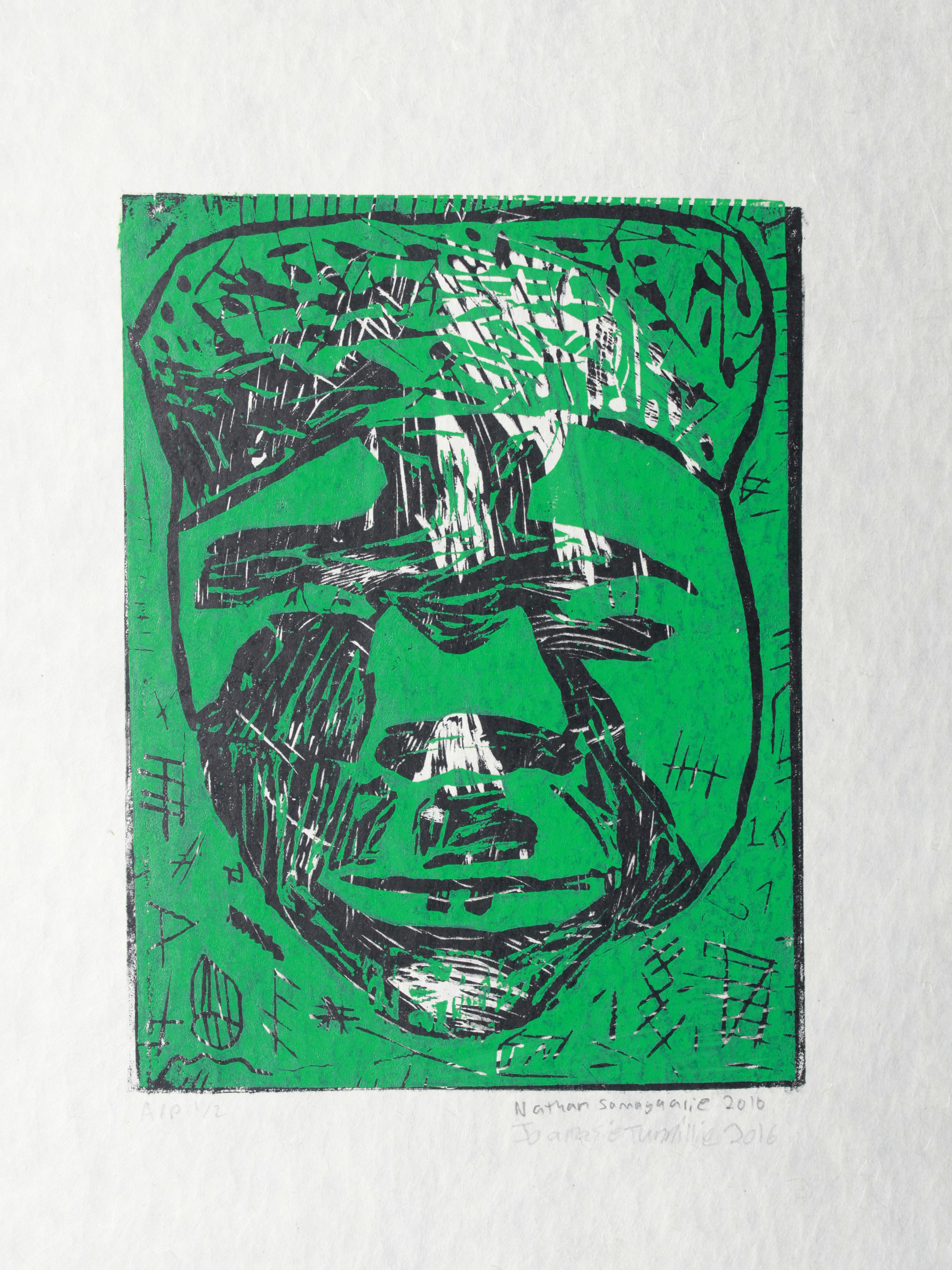 "Uvanga: Self-Portrait   Nathan Samayualie & Joanasie Tunnillie  Two-Layer Linocut Print on Washi  15.5 x 21.5"""