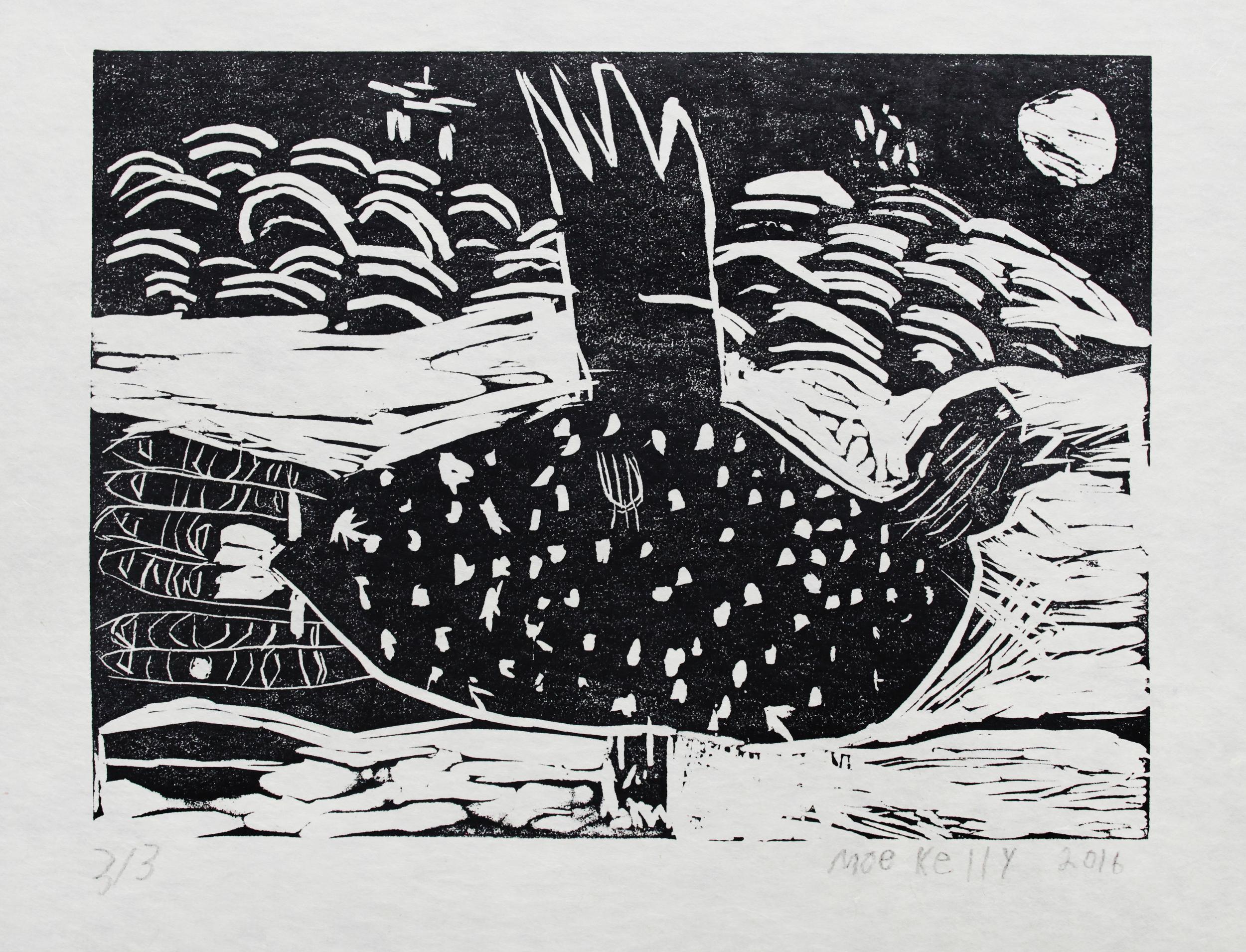 "Untitled   Moe Kelly  One-Layer Linocut Print on Washi  15.5 x 21.5"""