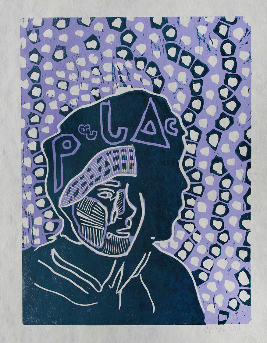 "Uvanga: Self-Portrait   Josie Saila  Two-Layer Linocut Print on Washi  15.5 x 21.5"""