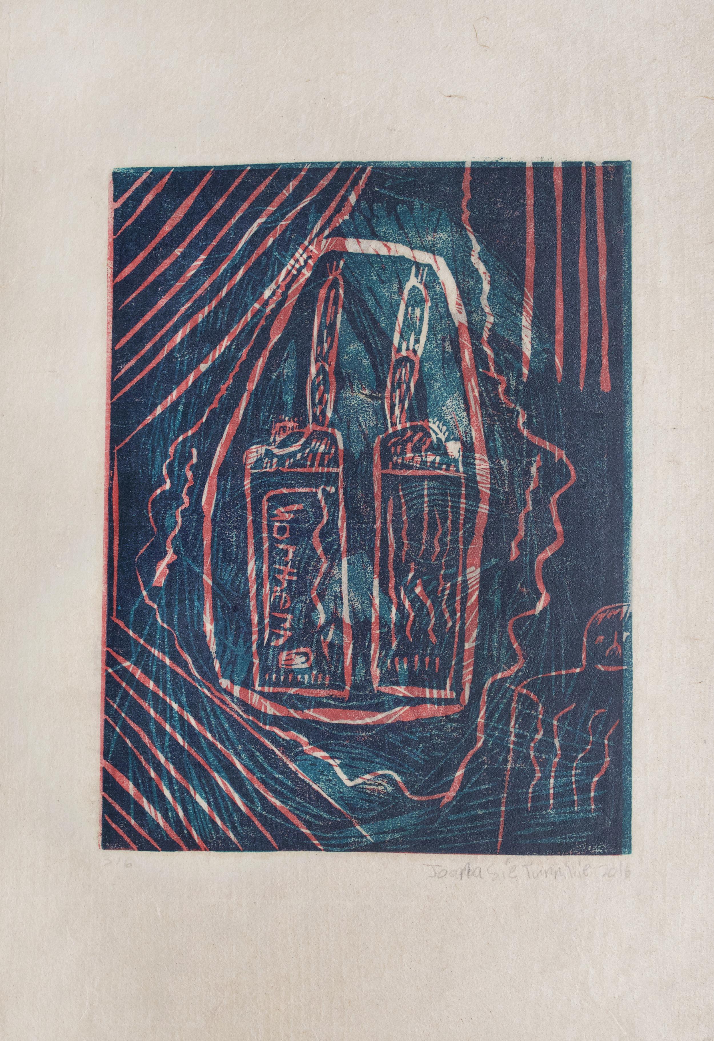 "Lighters   Joanasie Tunnillie  Two-Layer Linocut Print on Washi  15.5 x 21.5"""