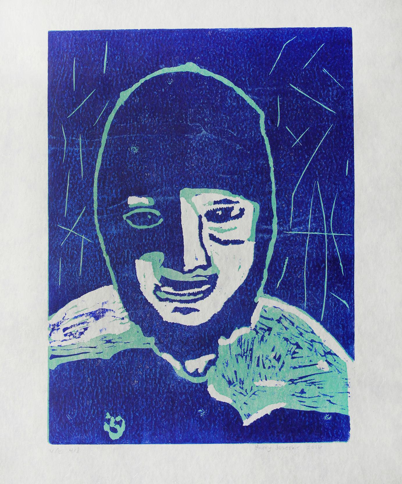 "Uvanga: Self-Portrait   Harry Josephie  Two-Layer Linocut Print on Washi  15.5 x 21.5"""
