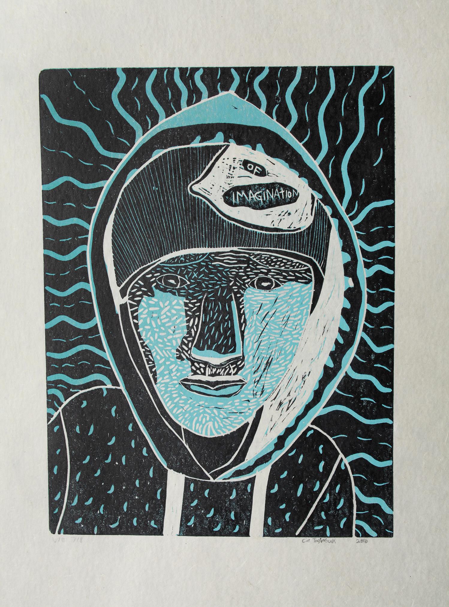 "Uvanga: Self-Portrait   Cie Taqiasuk  Two-Layer Linocut Print on Washi  15.5 x 21.5"""