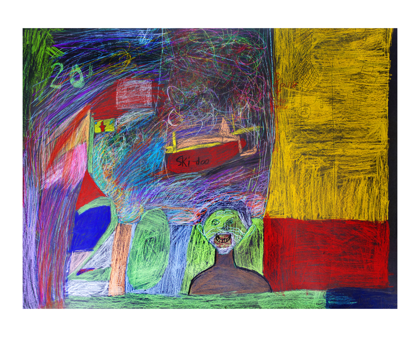 "Inuit Twenty Dollars   Ezeevalu Samayualie  Drawing on black paper  18x24"""