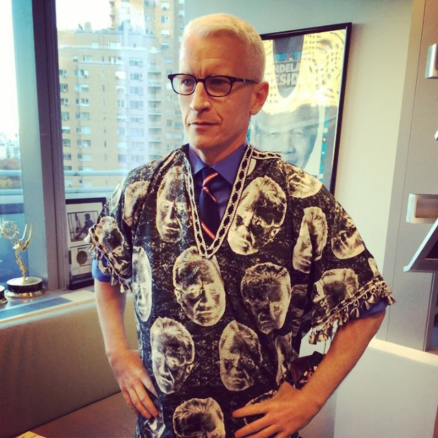 Anderson Cooper wearing custom End Boss tunic created by Naomi. Acrylic screen print on cotton.    2013