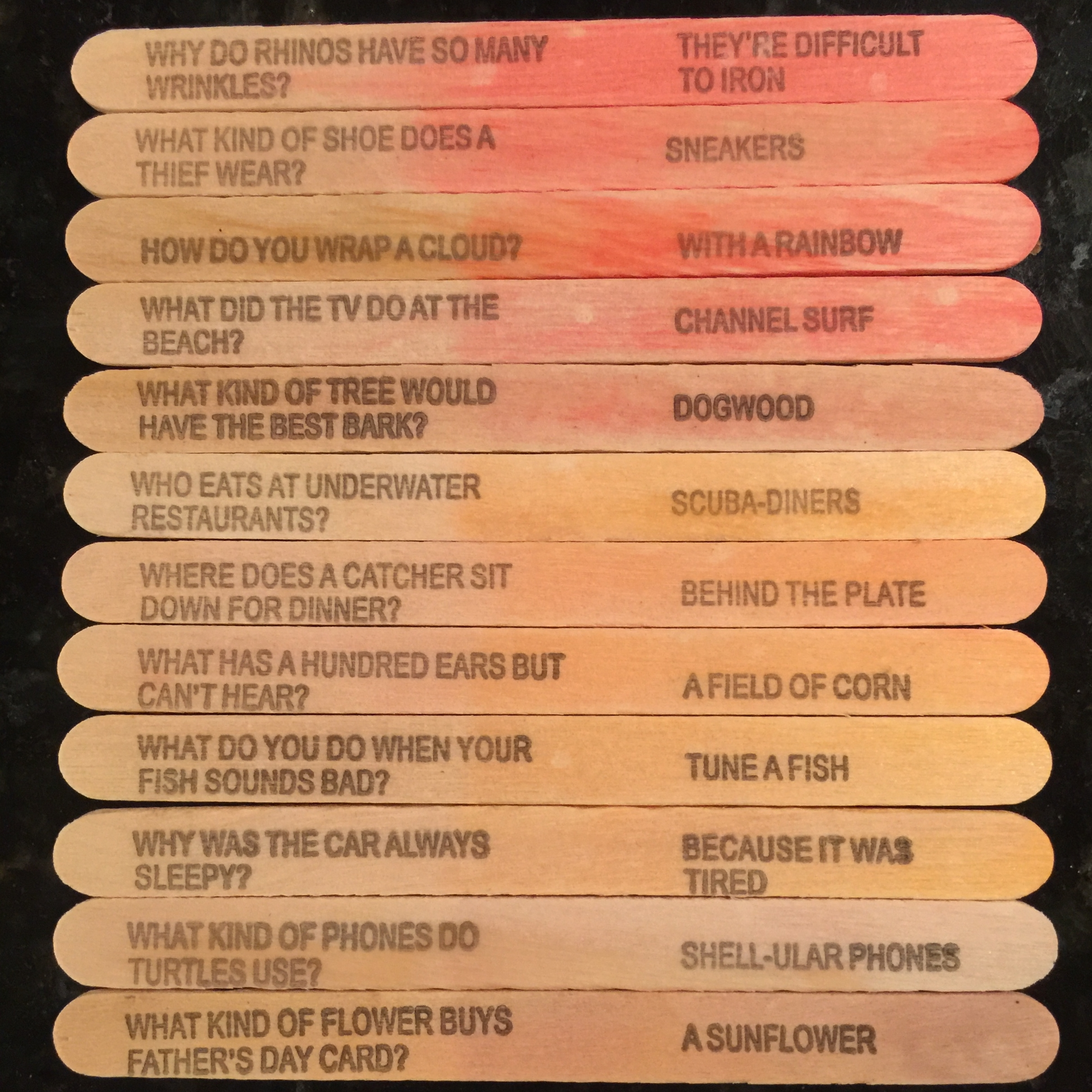jokes printed on popsicle sticks