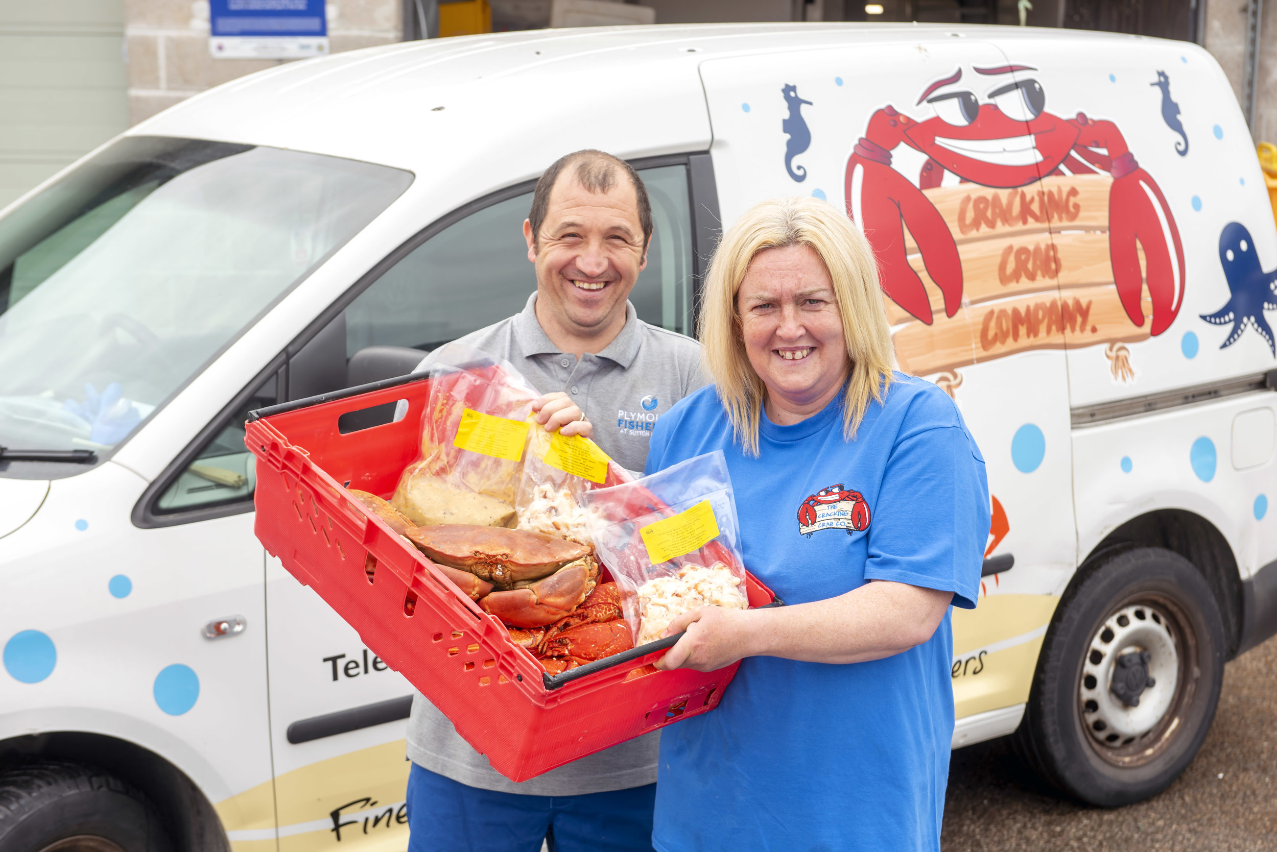 Nick Eggar, Manager of Plymouth Fisheries, and Claire Tapper outside the Cracking Crab Company unit at Plymouth Fisheries.