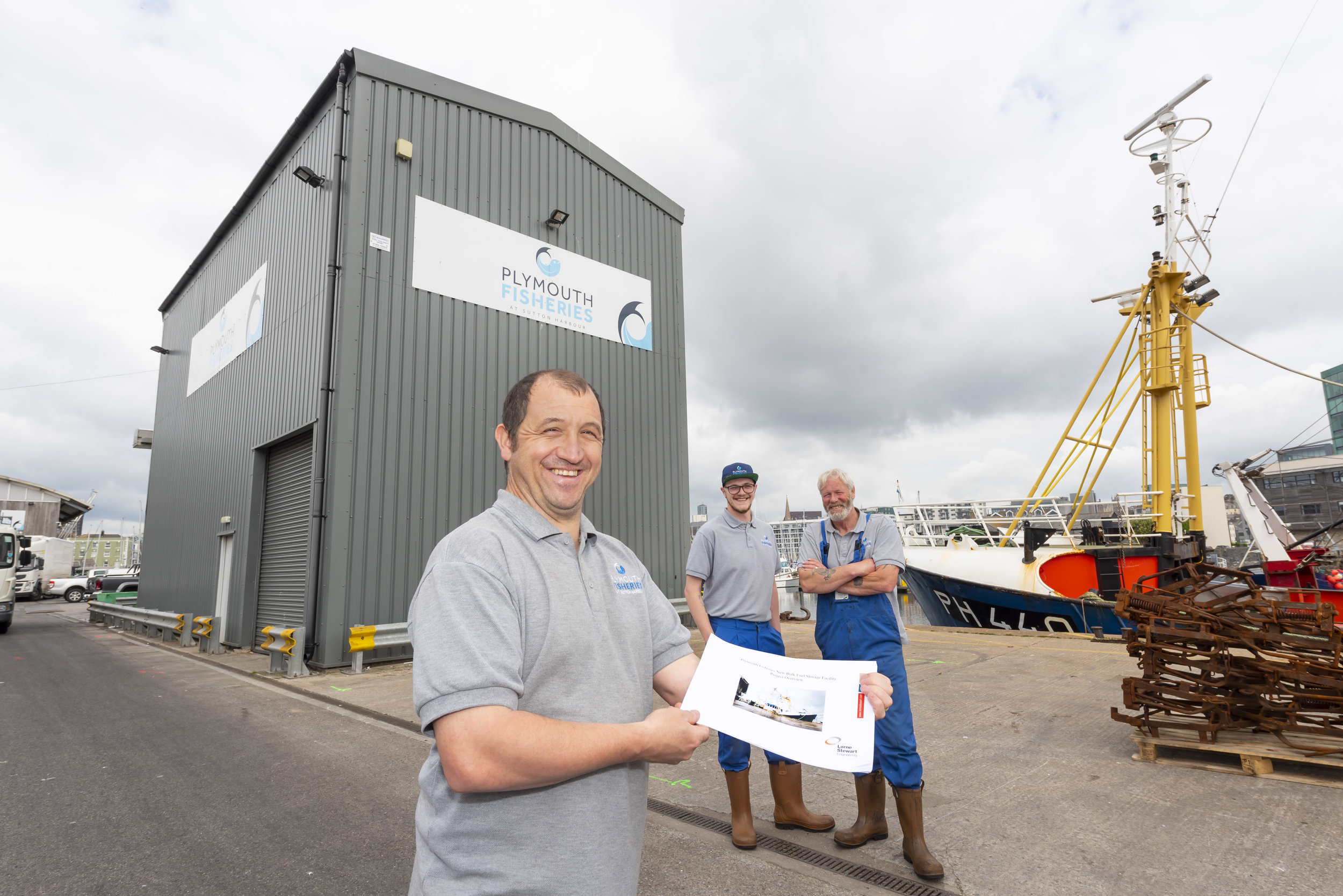 Nick Eggar, Manager of Plymouth Fisheries (front) with (L-R) Lewis Mcarther, Fisheries Assistant, and Tony Shepherd, Fisheries Assistant.