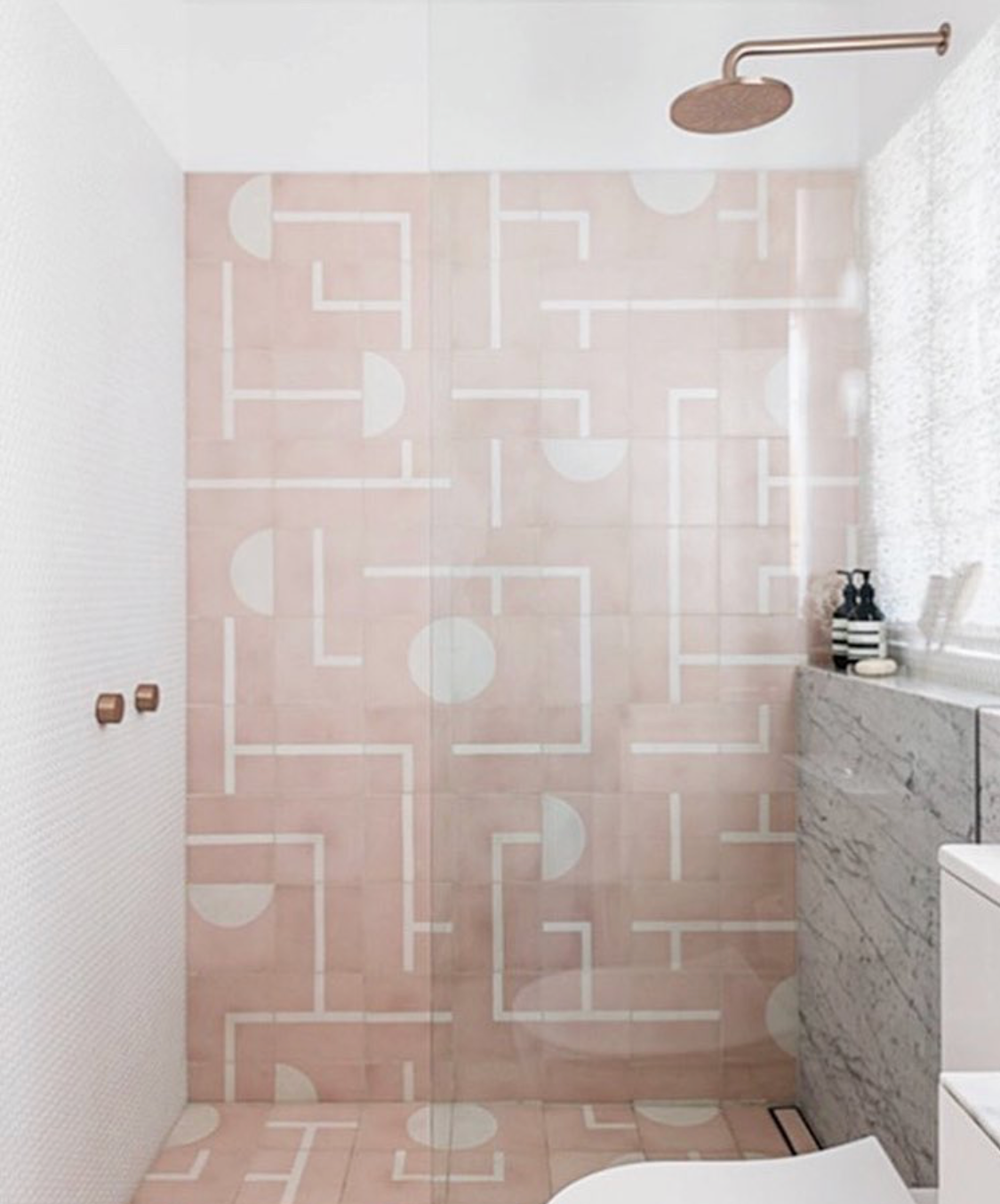 Ok this is just seriously dreamy, I don't know where the tile is from but this is comparable and with,  Lili Cement Tiles , you can customize your colors.