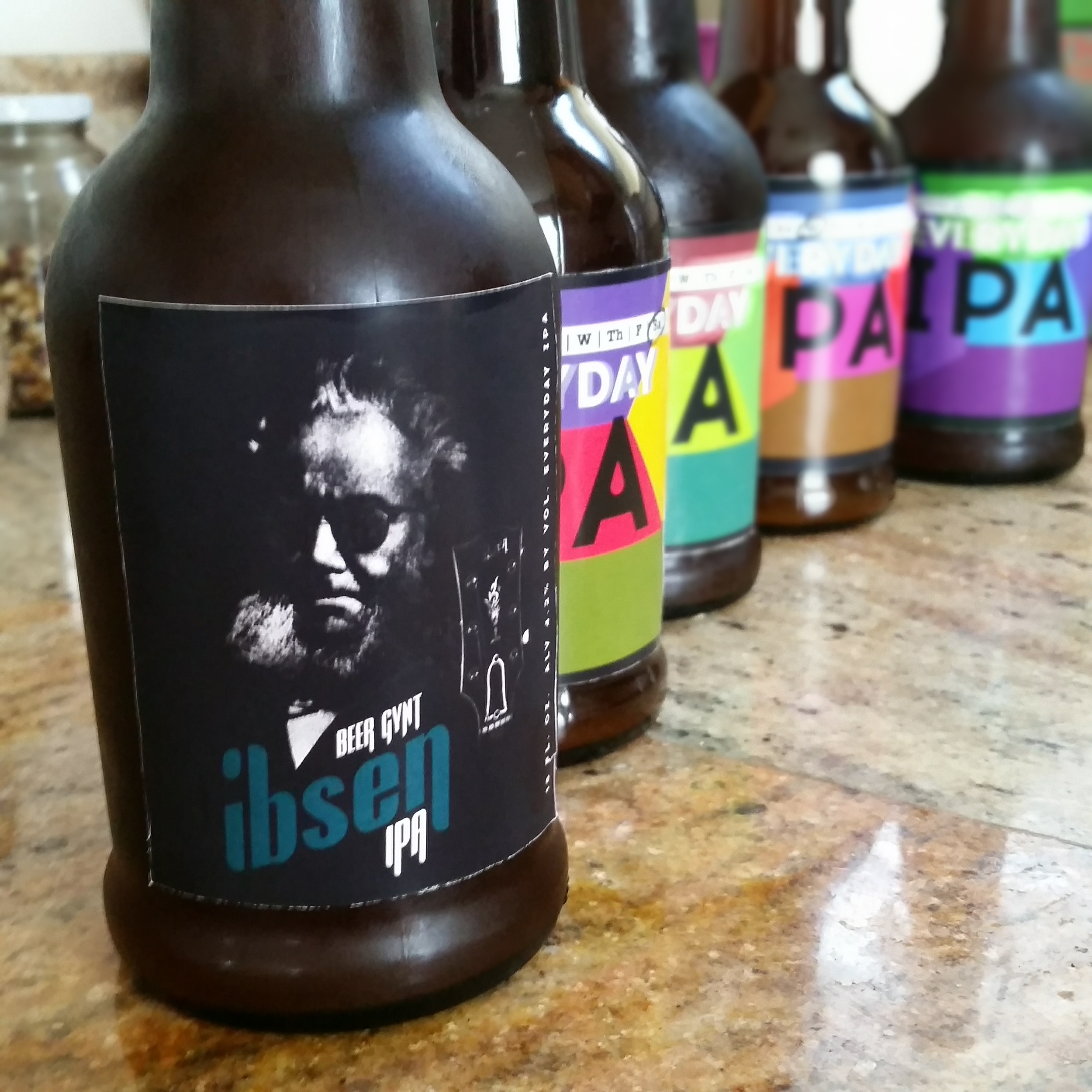 Many of my American friends may not get all the amazing puns going on here. But to all my Norwegians, here is the  Beer Gynt Ibsen IPA . The Ibsen logo is completely inspired by Gibson guitars.
