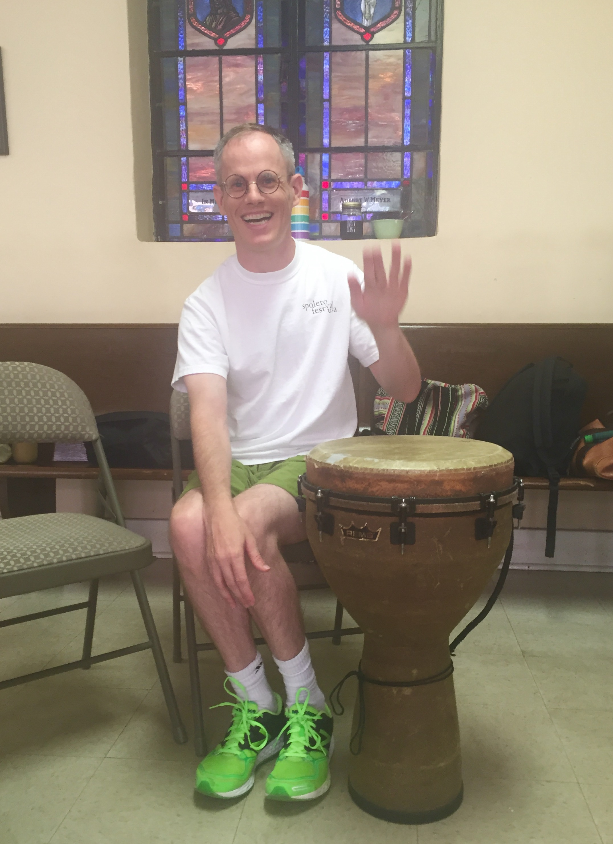Chris in drum class at HEART