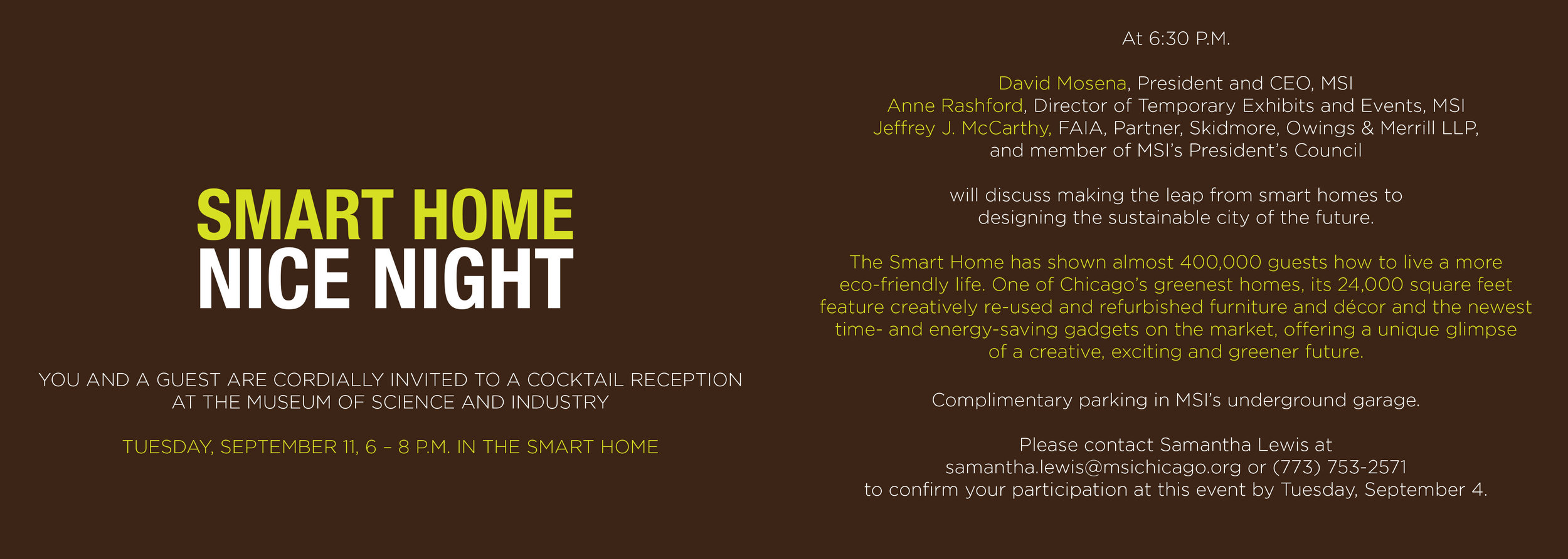 SMART HOME GREEN + WIRED:  OPENING NIGHT INVITATION