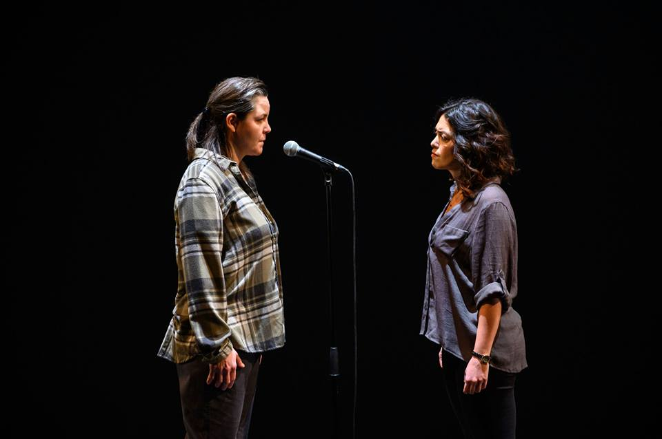 """GRACE - """"Director Andrea Donaldson keeps movement to a minimum on the nearly bare stage, maintaining focus on the powerful words. […] Most impactful of all, the perpetrator's name is never uttered, replaced instead by a haunting sound effect."""" —NOW"""