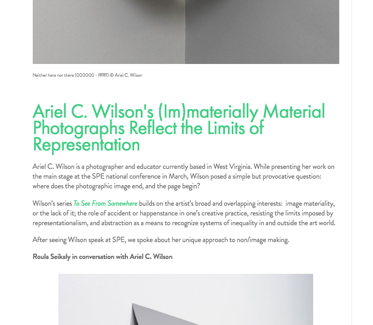 Ariel C. Wilson's (Im)materially Material Photographs Reflect the Limits of Representation -