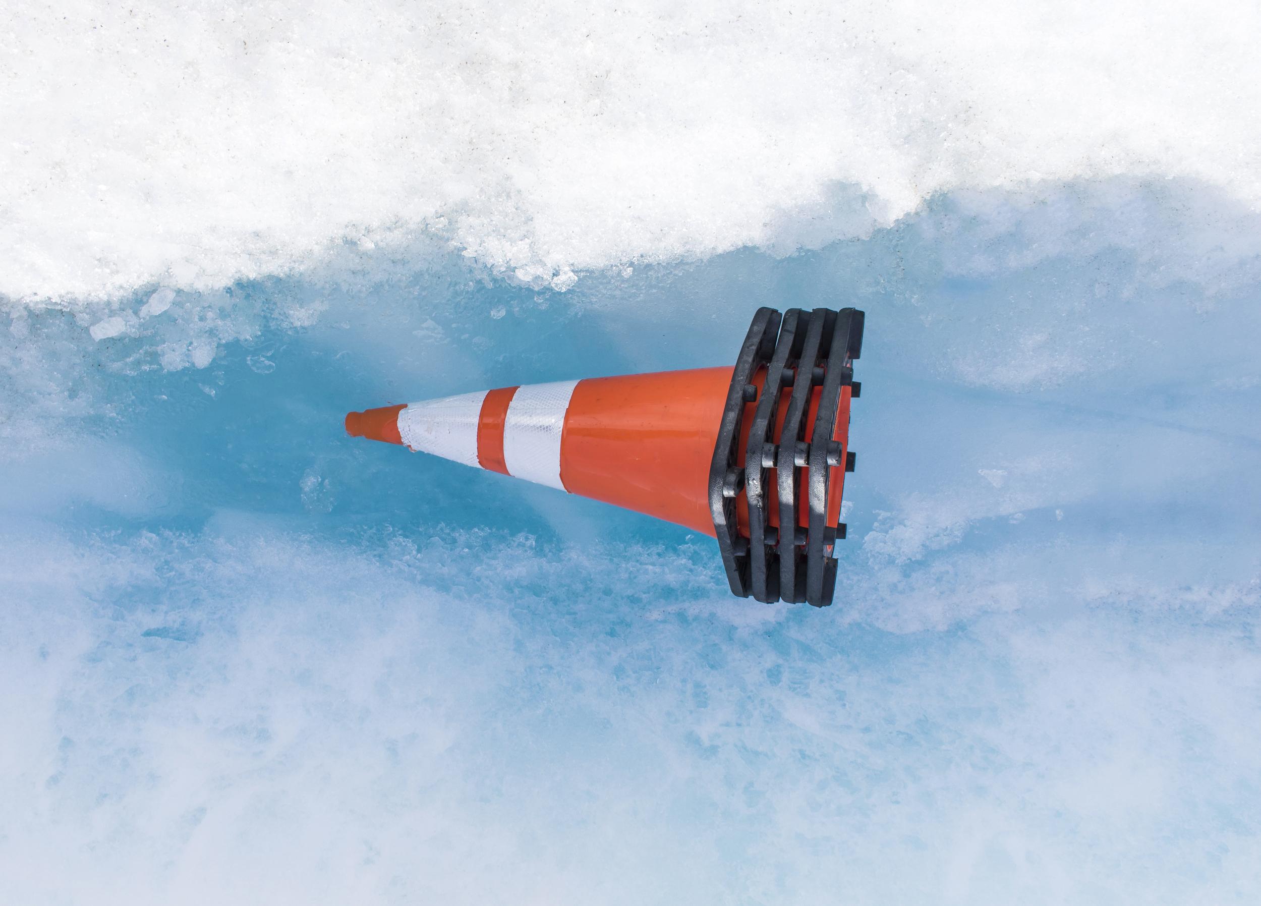 traffic cone on glacier floor