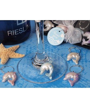 Oceans of love Dolphins wine charms favor