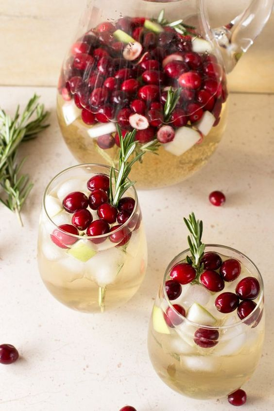 Christmas Sangria - Rosemary, cranberries, and apple make this sangria the perfect Christmas drink that goes with any holiday meal!IngredientsVegan, Gluten freeProduce1/4 cup Cranberries3/4 cup Cranberries, whole1 Granny Smith apple3 Rosemary, sprigsBaking & Spices1/4 cup SugarDrinks3/4 cup Sparkling apple ciderBeer, Wine & Liquor2 bottles Pinot Grigio or Chardonnay