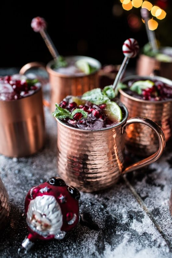 Pomegranate and Peppermint Moscow Mules - Be enthralled after a few sips of this vodka, ginger beer, and lime concoction. An extra pinch of sweetness transforms this cocktail into something your guests will talk about!Ingredients1 Candied mint1/2 cup Mint, fresh leaves1/3 cup Pomegranate, juice1 Pomegranate arilsCondiments1 tbsp Lime juice, freshBaking & Spices1/4 cup Granulated sugarDrinks3/4 cup Ginger beerFrozen1 IceBeer, Wine & Liquor1 oz VodkaLiquids1 Water