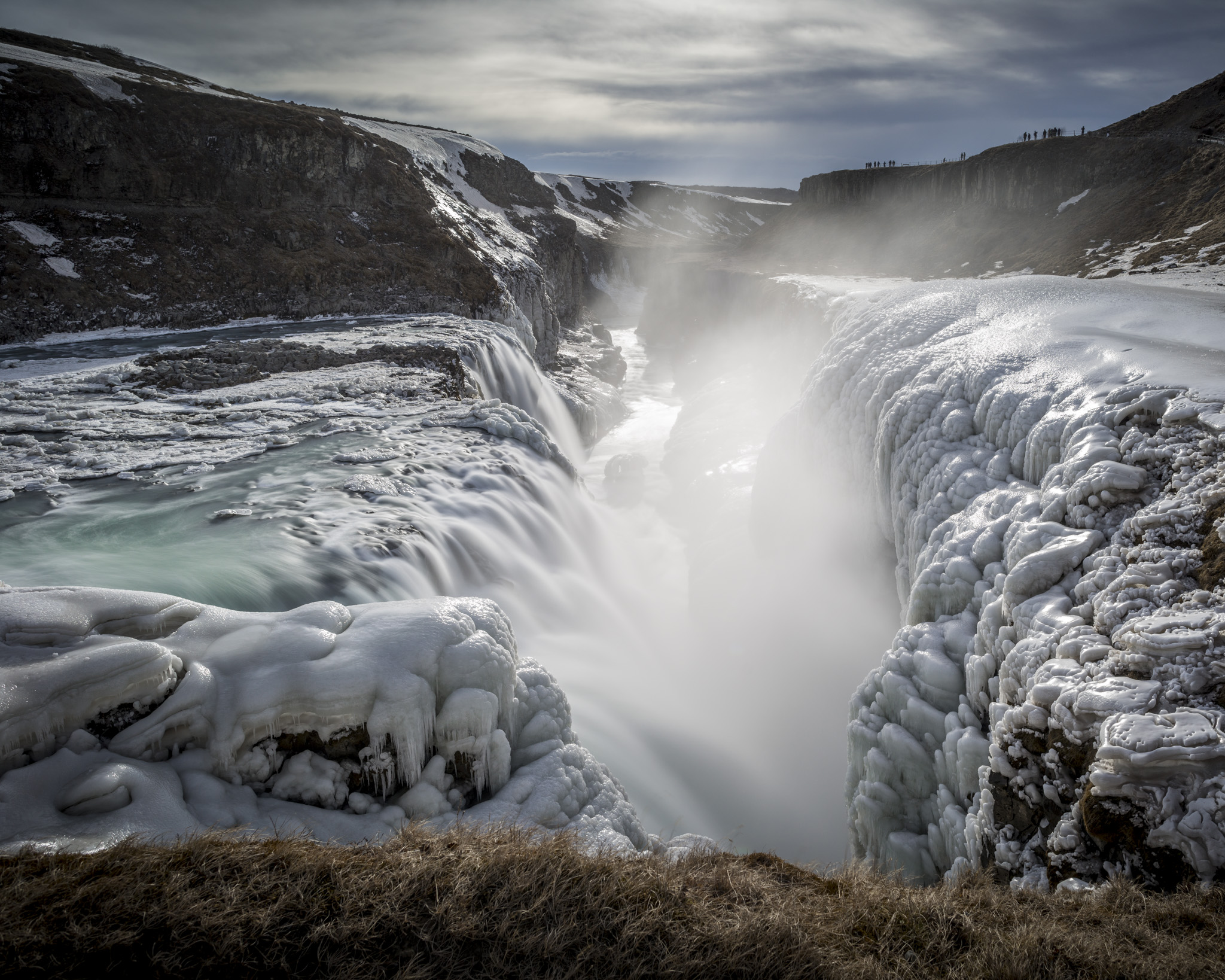Gullfoss waterfall clad in ice.