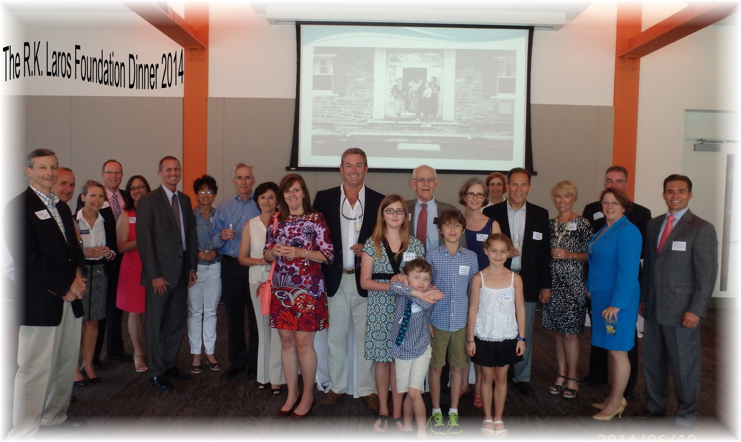 The R.K. Laros Board gathered in June 2014 for a Foundation dinner with three generations of Laros descendants, board members and their spouses and guests.
