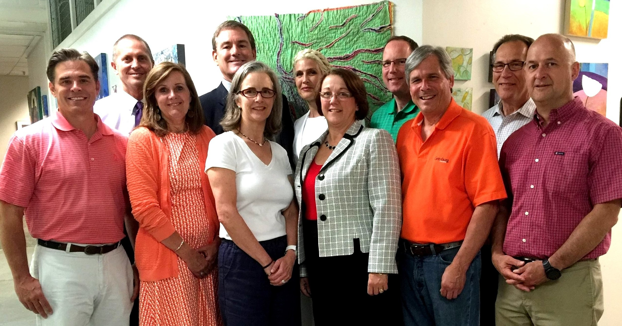 The R.K. Laros Foundation Board of Trustees at the June 2016 Annual Meeting held in 2016 at the Banana Factory in Bethlehem   L-R Back Row Co Treasurer Ron Donchez, Chair R.Keller Laros III, Vice Chair Laura Bennett Shelton, Trustees Ron Madison, Dr. Michael Abgott  L-R Front Row Trustees Scott Mardis, Laurie Gostley Hackett, Ann Laros-Weaver, Diane Donaher, Robert Bilheimer, George Mowrer  Not pictured but attending Co Treasurer Robert Huth, Jr. and Executive Director Sharon Jones Zondag