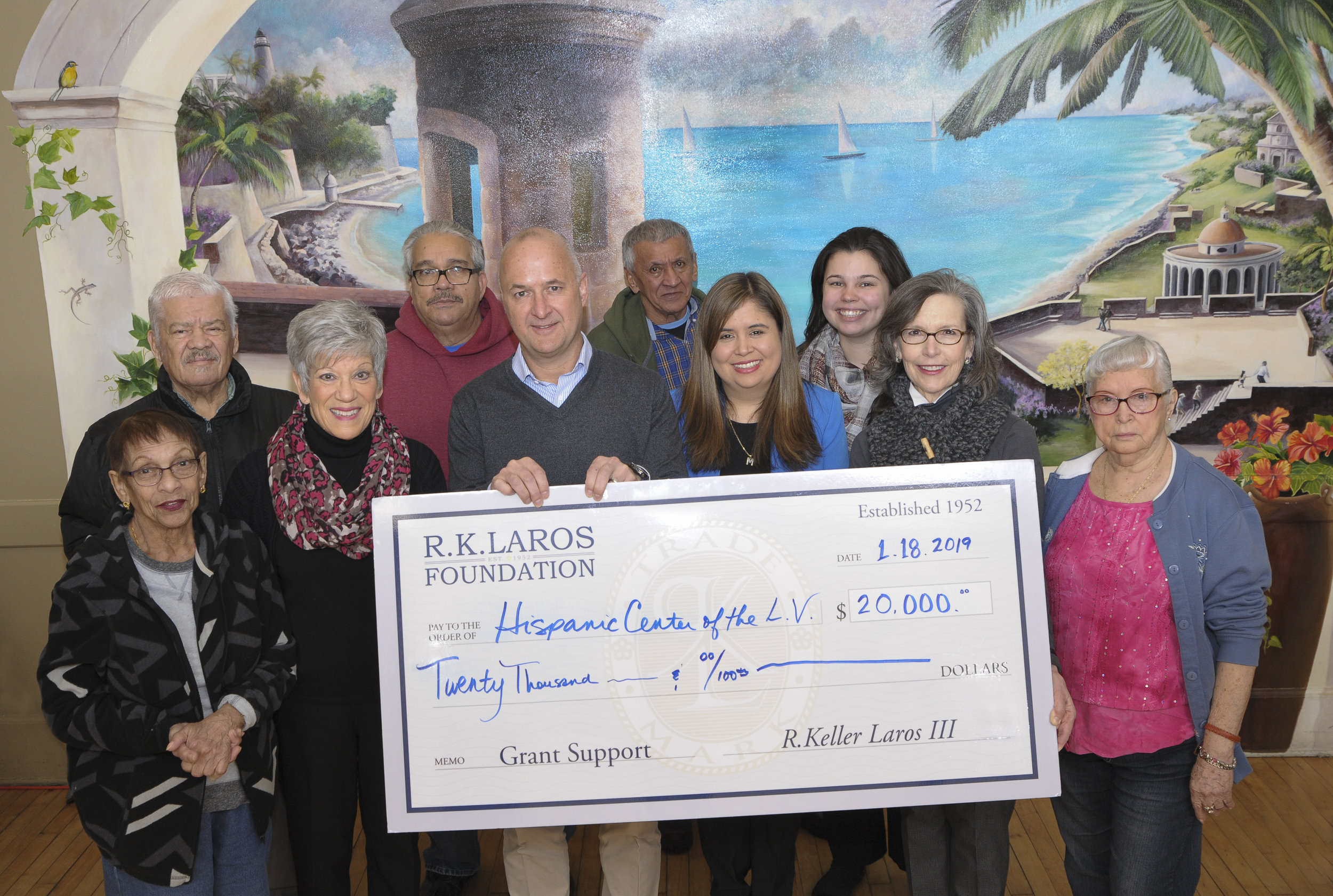 Trustee George Mowrer and Executive Director Sharon Zondag present the Hispanic Center of the Lehigh Valley Grant at the Senior Center on January 18th, 2019 a grant to install an ADA compliant handicapped access ramp at the center.