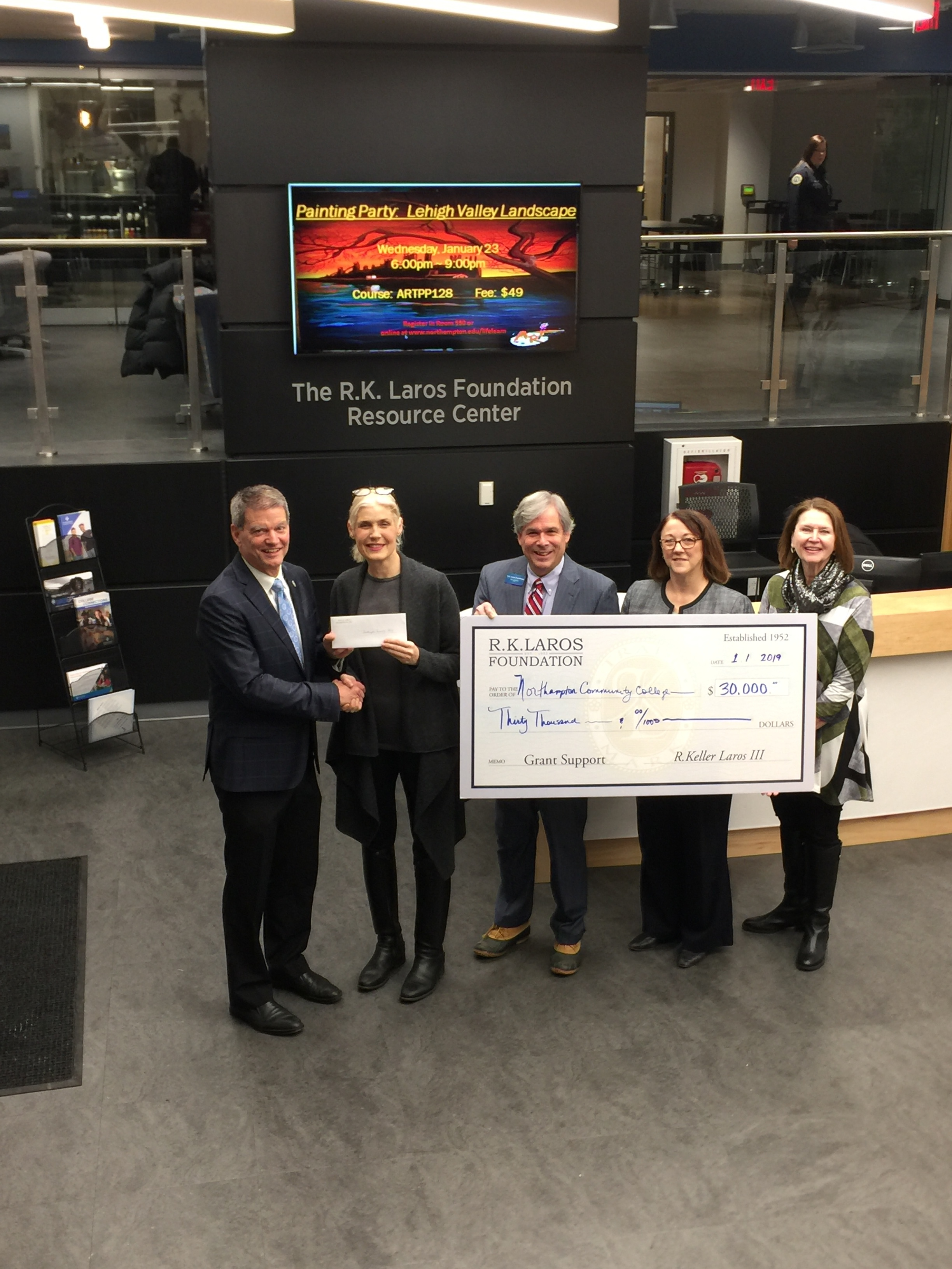 Foundation Vice Chair Laura Bennett Shelton and Trustees Diane Donaher and Robert Bilheimer on 1.18.19 present the grant to Northampton Community College President Mark Erickson and Vice President Workforce Development Lauren Loeffler to support the establishment of a Resource Center at the Fowler Campus..
