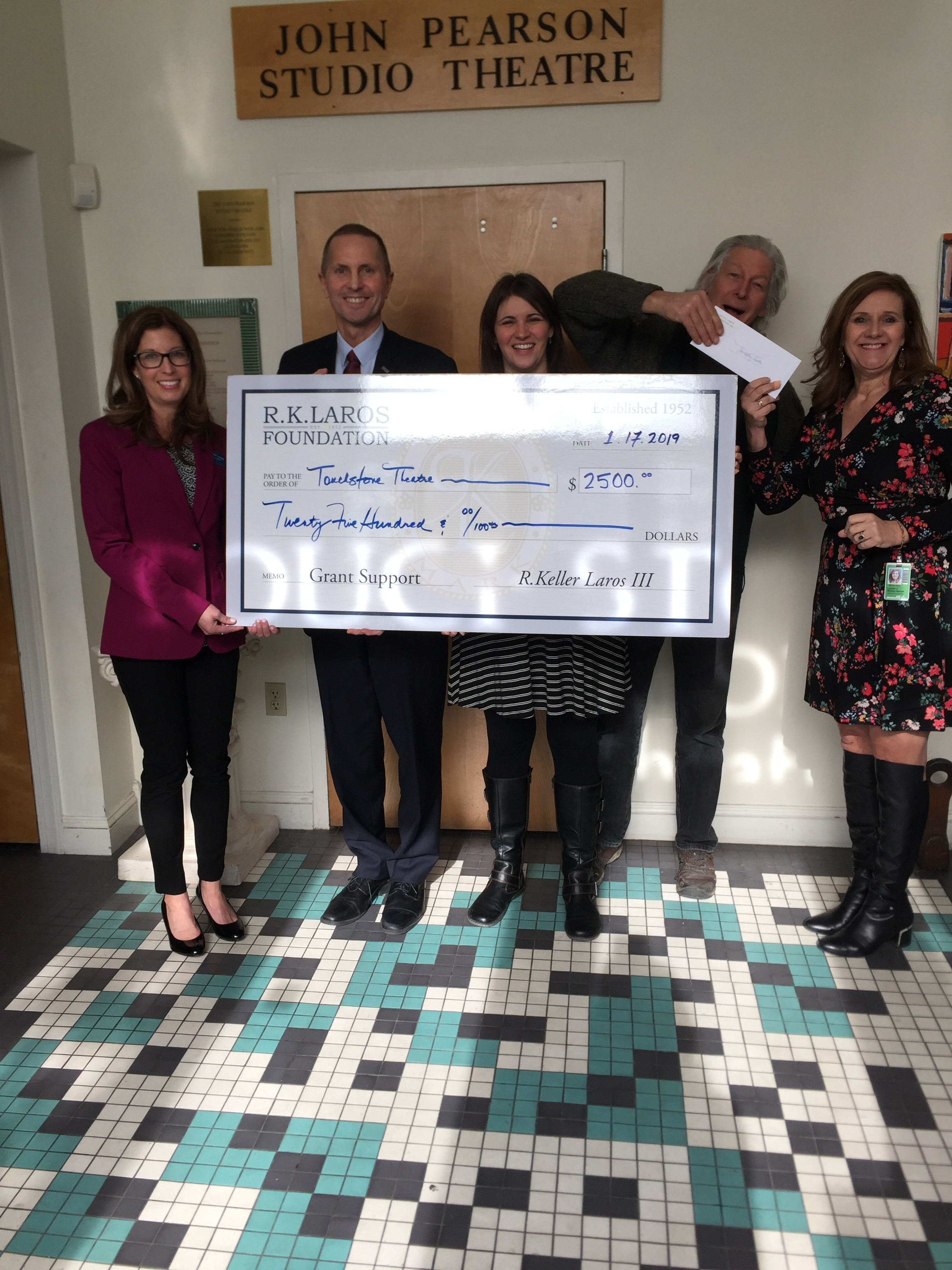 Touchstone Theatre Grant Presentation by Trustees Elizabeth Shimer Bowrers, Ron Donchez and Laurie Hackett to Artistic Director Lisa Jordan and Bill George Touchstone Co Founder on 1.17.19 to replace an aging HVAC.