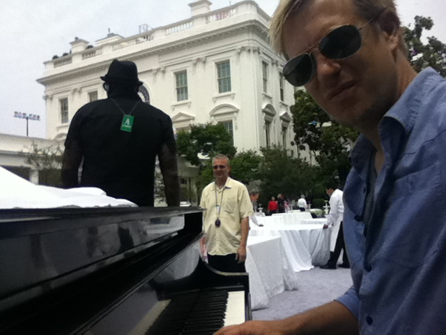 sound check at the White House Rose Garden