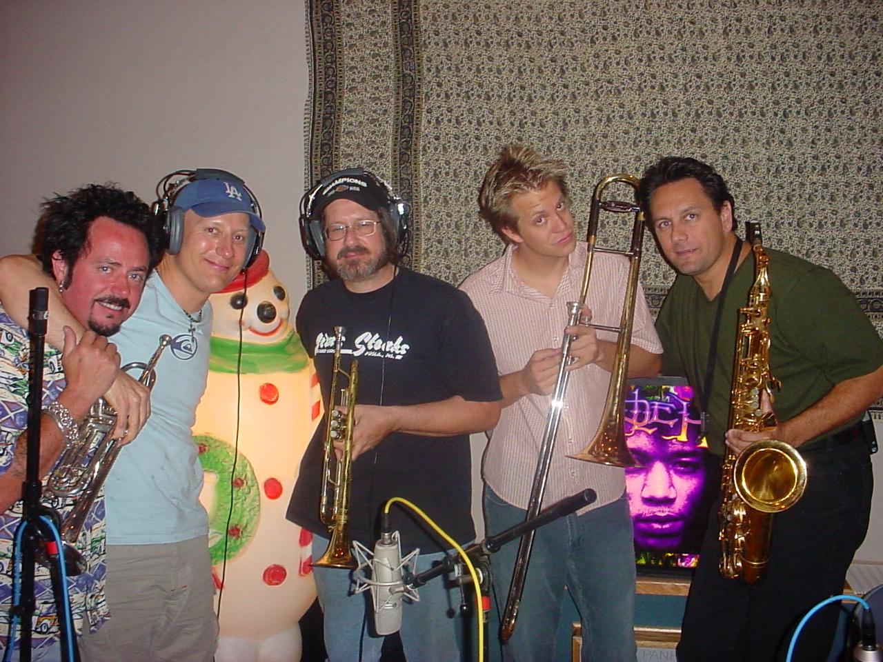 SantaMental horn section w/ Steve Lukather, Gregg Bissonette, Walt Fowler & George Shelby, Steakhouse Studio, North Hollywood, CA 2001