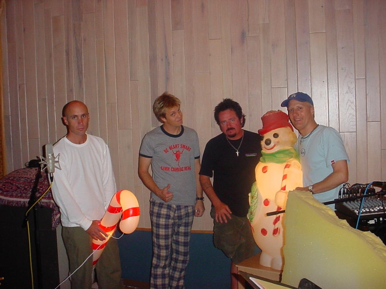 SantaMental recording session, Steakhouse Studios Noho CA w/ John Pierce, me in some pants, Steve Lukather, unnamed snowman, Gregg Bissonette