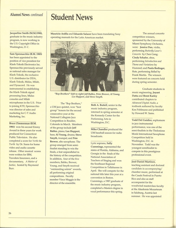 """1992 University of Miami article featuring the award winning UM """"Bop Brothers"""""""