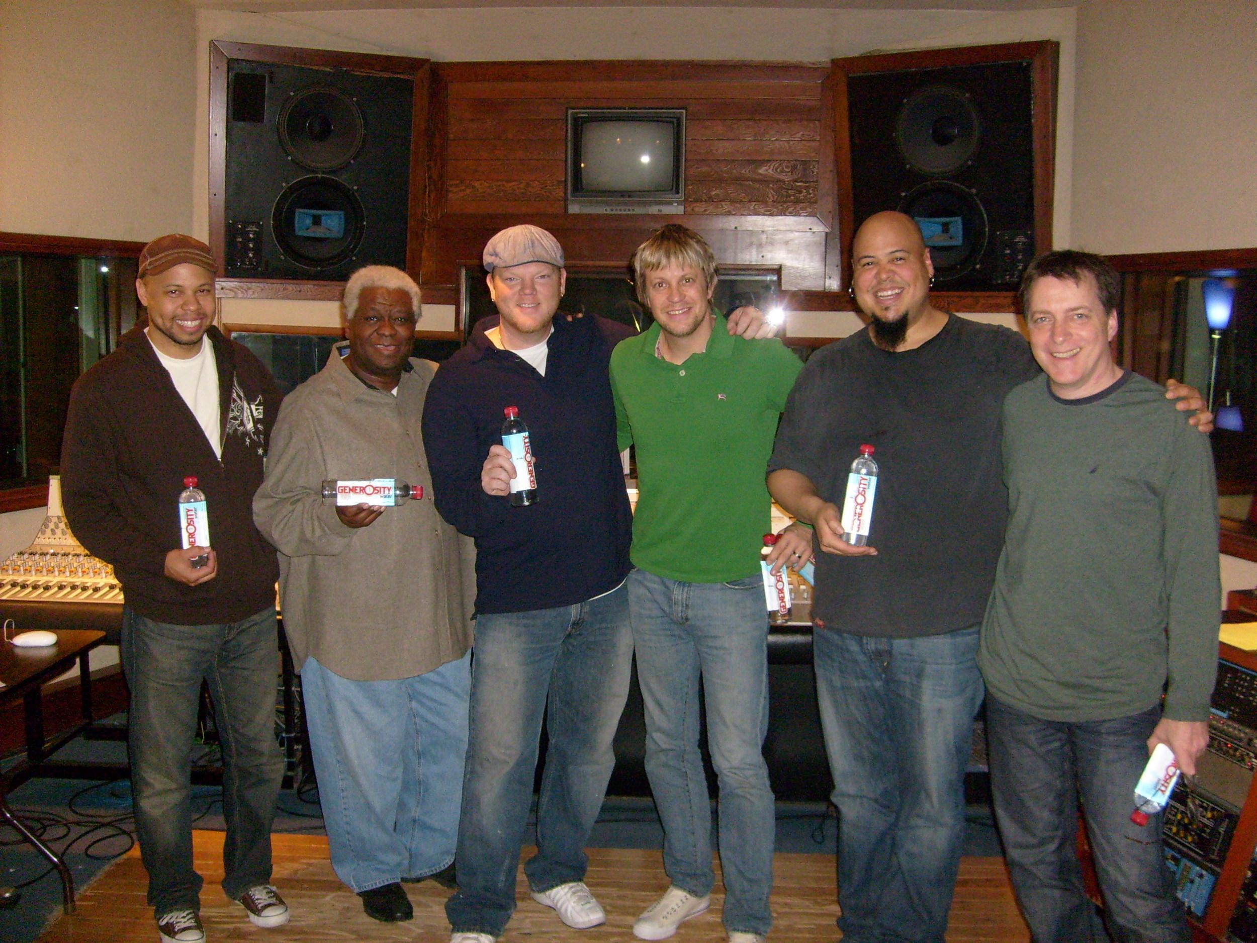 recording Generosity Water Project w/ Chris James, Abe Laboriel Sr., Dan Lutz, Abe Laboriel Jr. & James Harrah @ Stagg St. Studios Van Nuys, December 2008