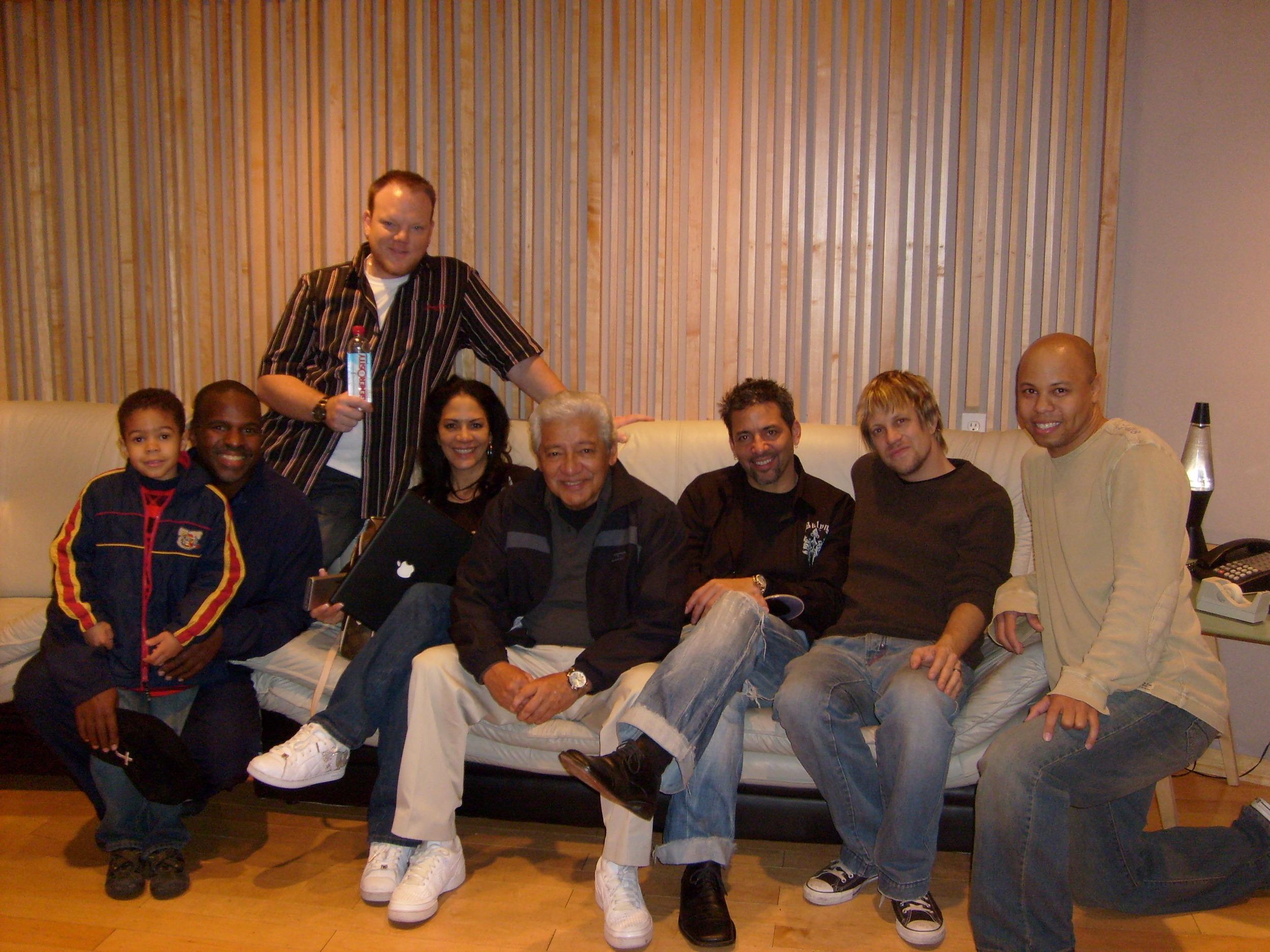 "in North Hollywood, 2008 w/ Joshua & Will Kennedy, Dan Lutz, Sheila E., ""Pops"" Pete Escovedo, Peter Michael Escovedo & Chris James making ""Generosity Water Project"""