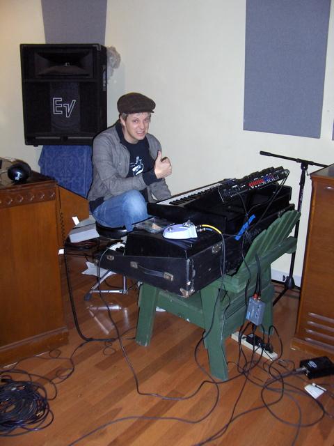 recording hip hop @ Toss Panos' studio on a makeshift stand, 2008