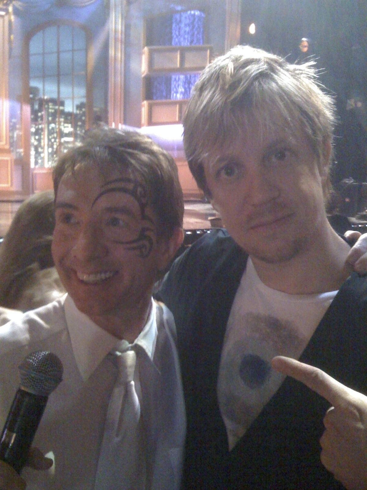 """w/ Martin Short in Mike Tyson makeup rehearsing """"Just For Laughs"""" comedy special 2009"""
