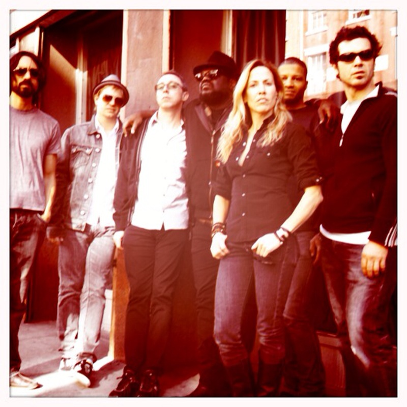 """making """"100 Miles From Memphis"""" w/ Justin Stanley, Victor Indrizzo, Tommy Sims, Sheryl Crow, Chris Bruce & Doyle Bramhall II outside Electric Lady Studios, the Village NYC 2010"""