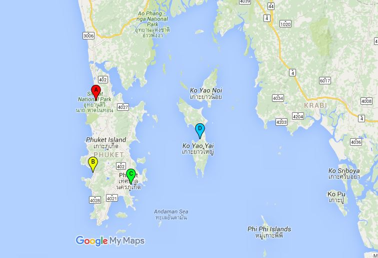 A: Phuket Airport, B: Patong Beach, C: Phuket Town, D: Ko Yao Yai