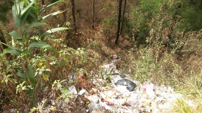 Am Strassenrand fand ich dann auch bei einer Raststätte die örtliche Müllkippe - schön alles einfach in den Abhang gekippt :-/