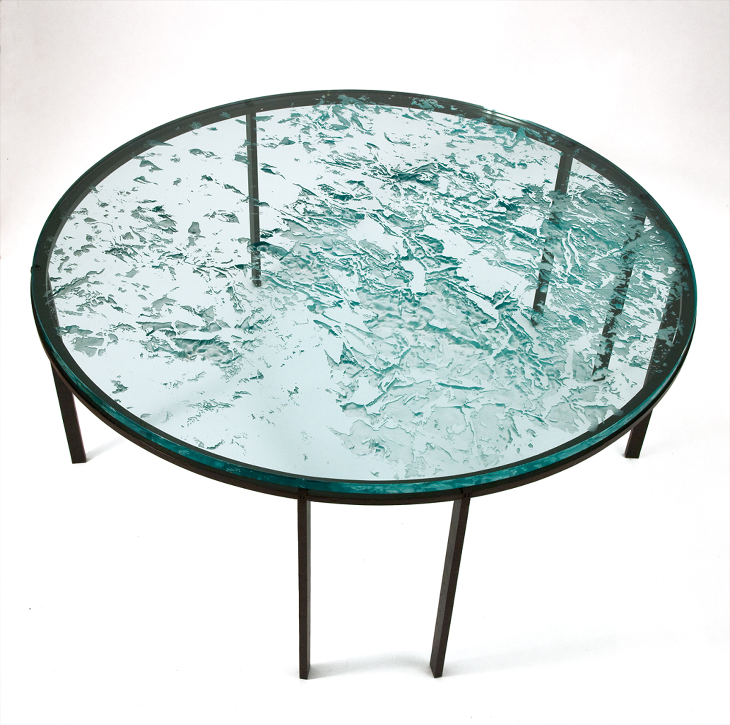 "2011 The ""Fibonacci"" Table: Etched glass tondo with bronze base.   Photo © Eileen Travell."