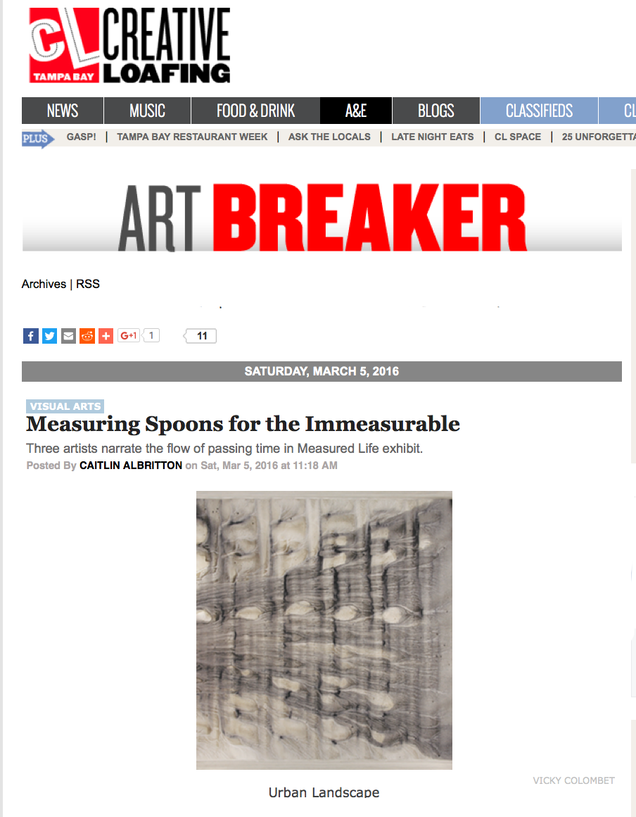"Creative Loafing Tampa Art Review  ""Measuring Spoons for the immeasurable"""