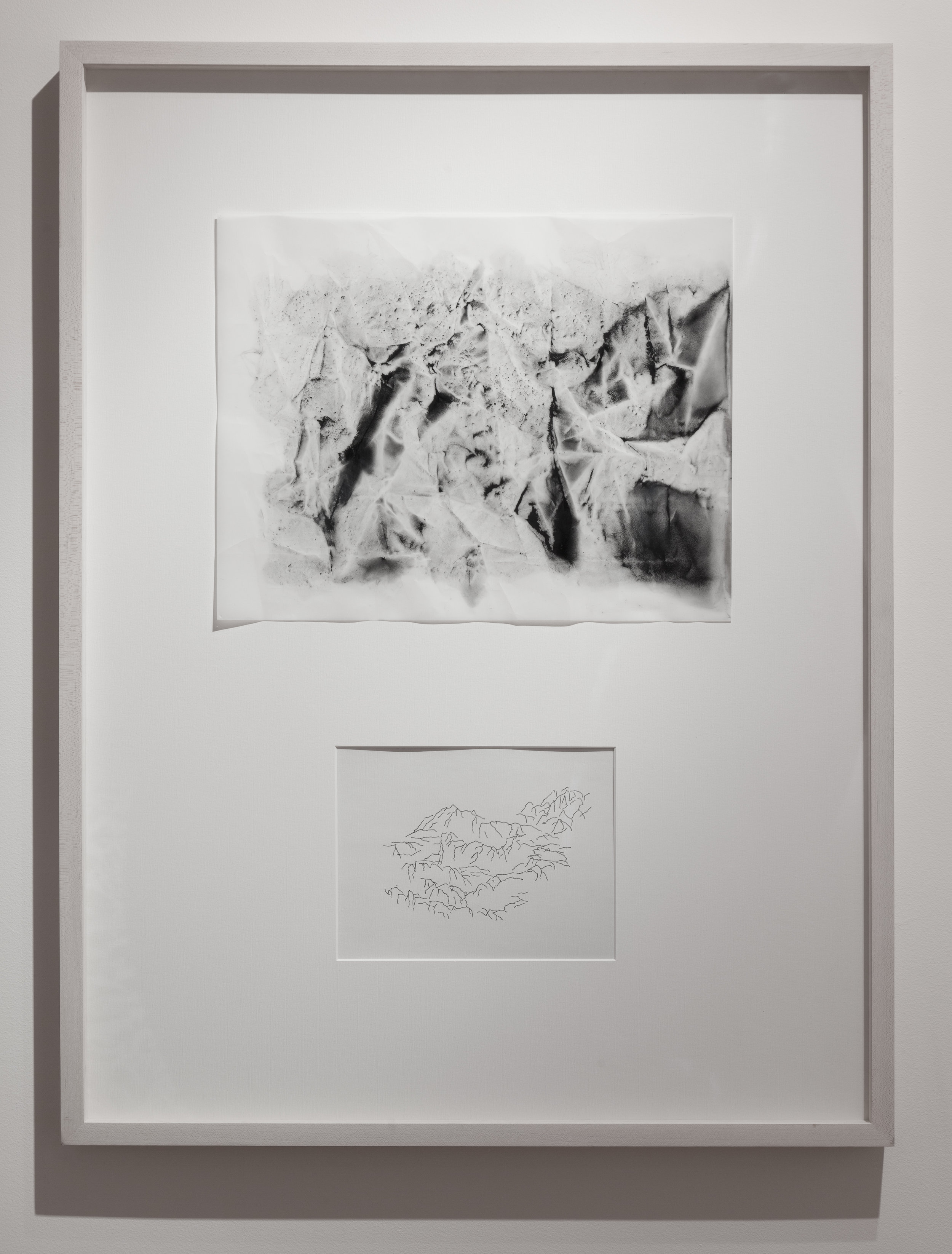 """Dialogue # 39  2016 Charcoal and Pigment on Vellum and Ink on paper Dimension framed: 22""""x29"""""""