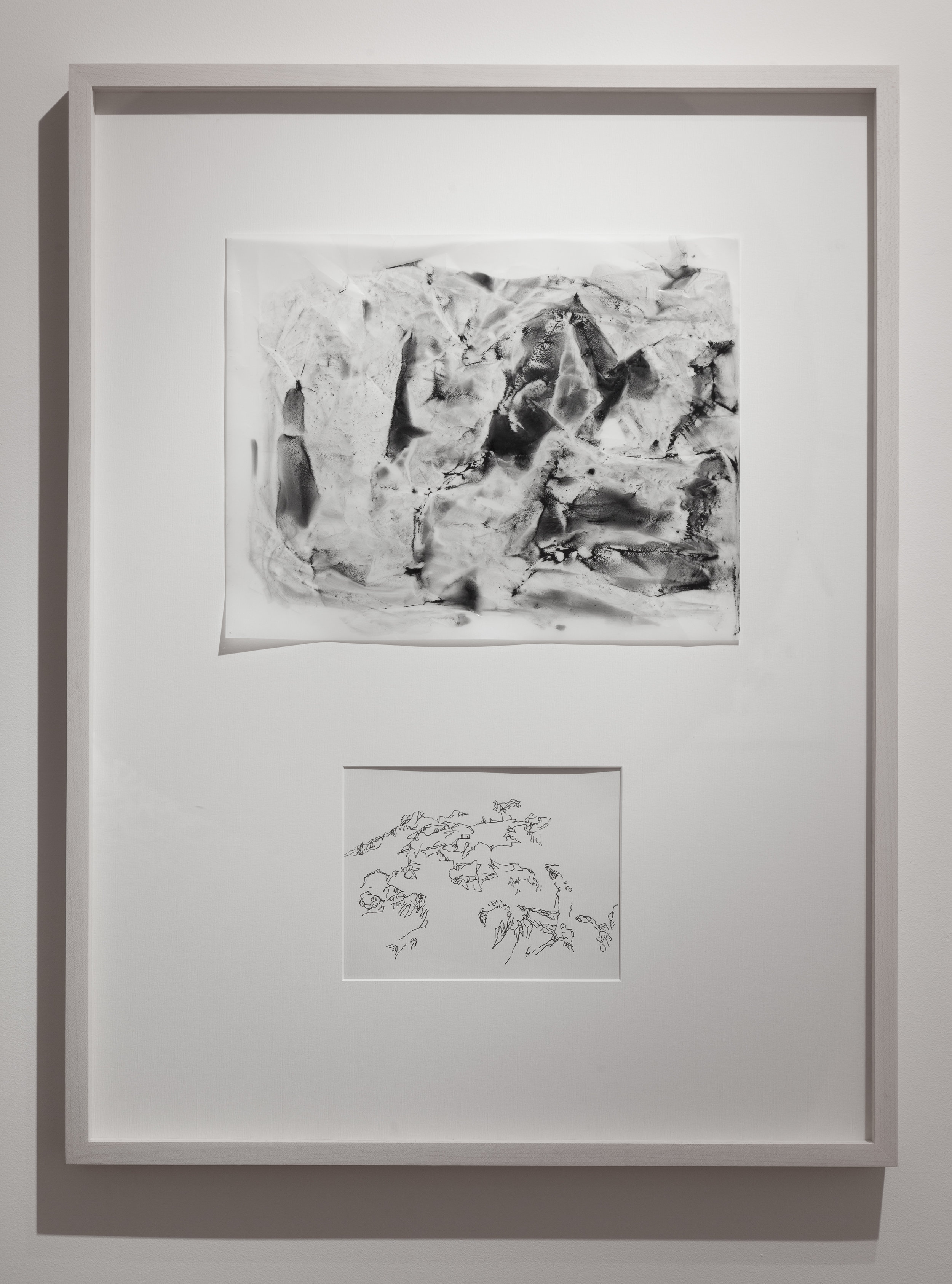 """Dialogue # 40  2016 Charcoal and Pigment on Vellum and Ink on paper Dimension framed: 22""""x29"""""""