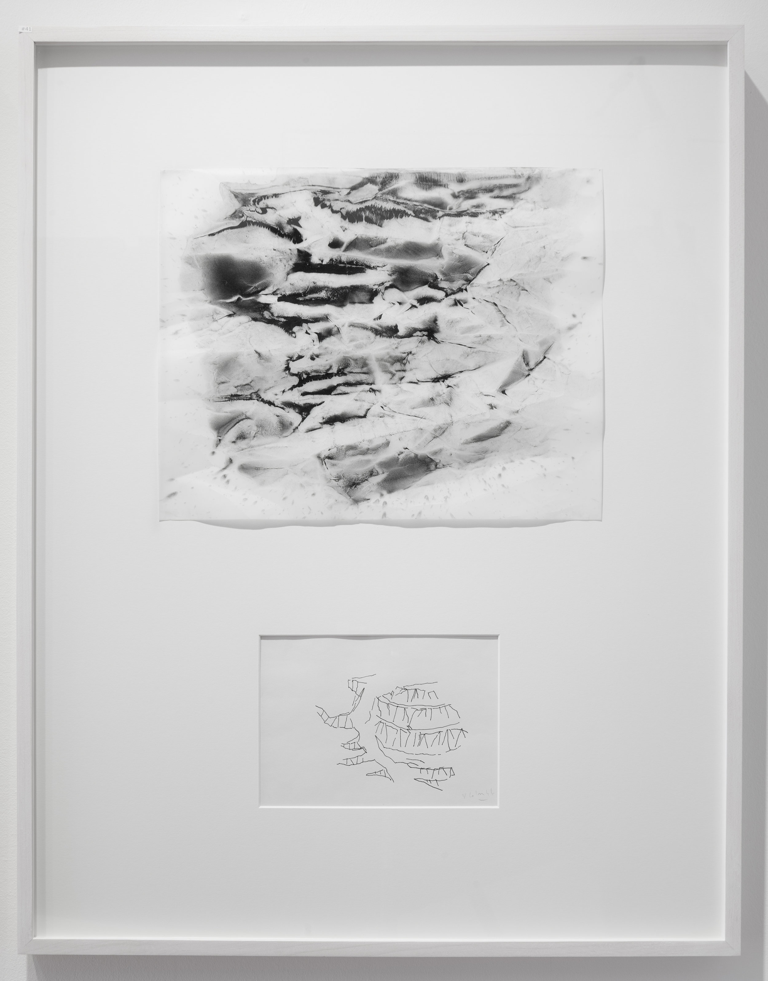 """Dialogue # 41  2016 Charcoal and Pigment on Vellum and Ink on paper Dimension framed: 22""""x29"""""""