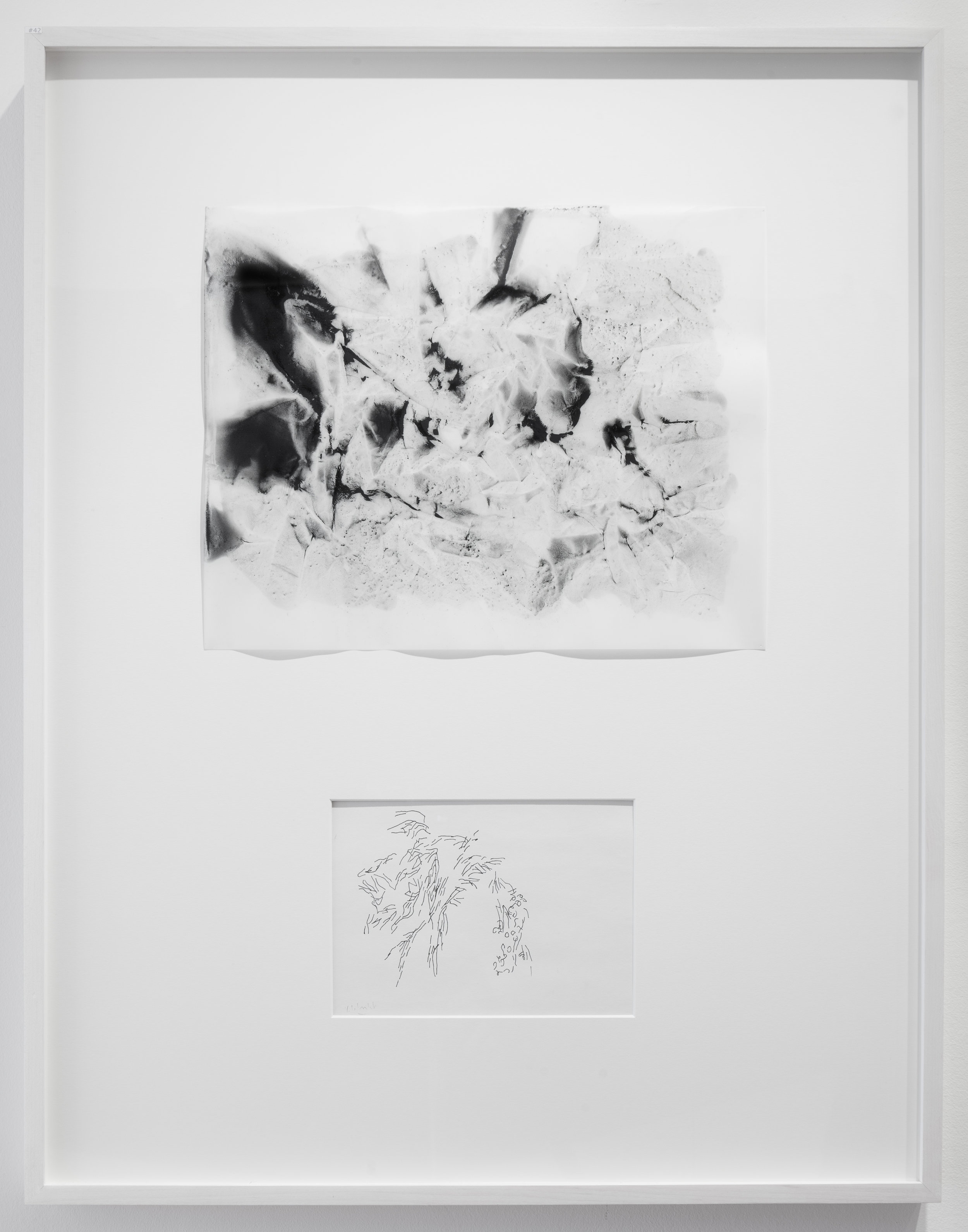 """Dialogue # 42  2016 Charcoal and Pigment on Vellum and Ink on paper Dimension framed: 22""""x29"""""""