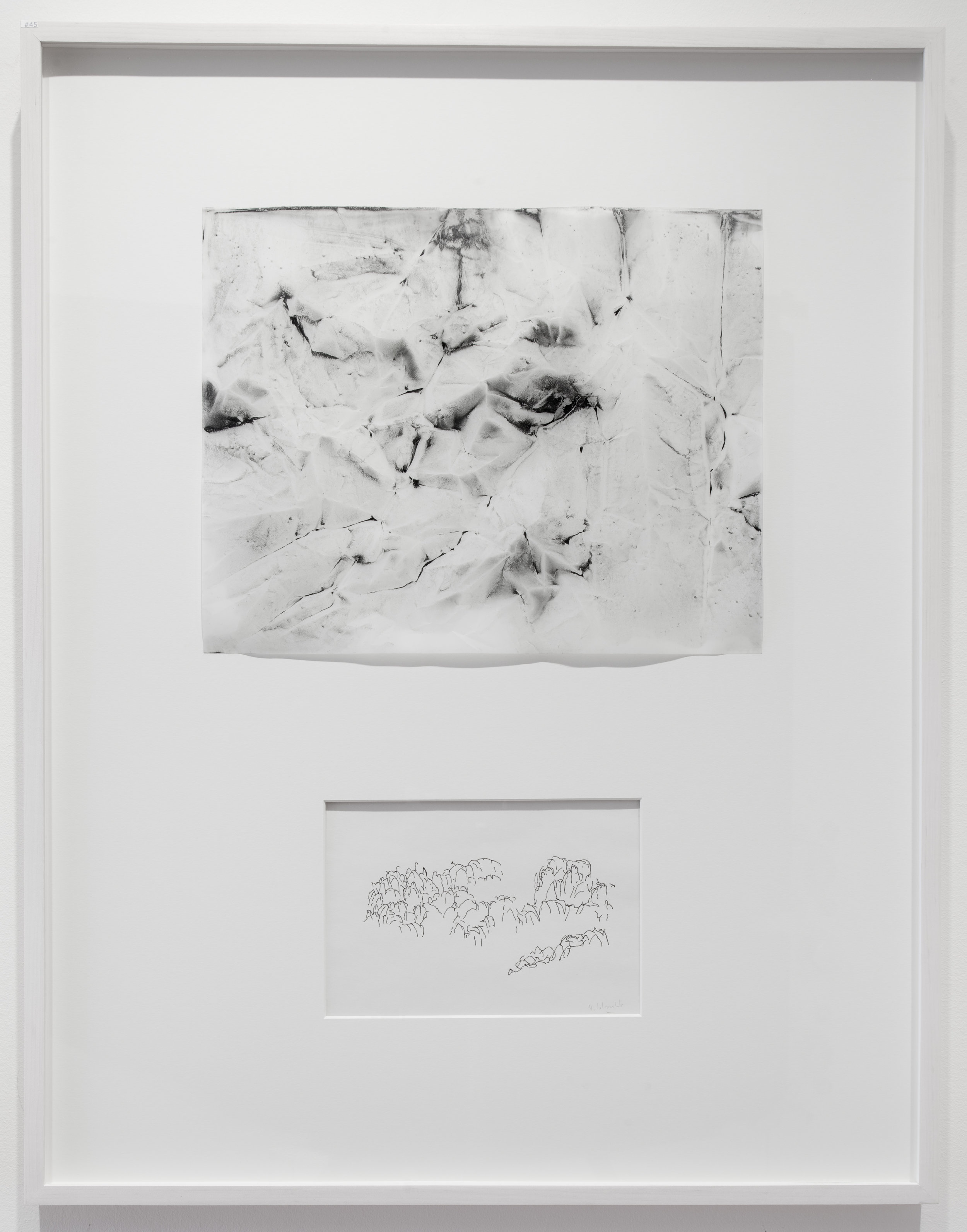 """Dialogue # 45  2016 Charcoal and Pigment on Vellum and Ink on paper Dimension framed: 22""""x29"""""""