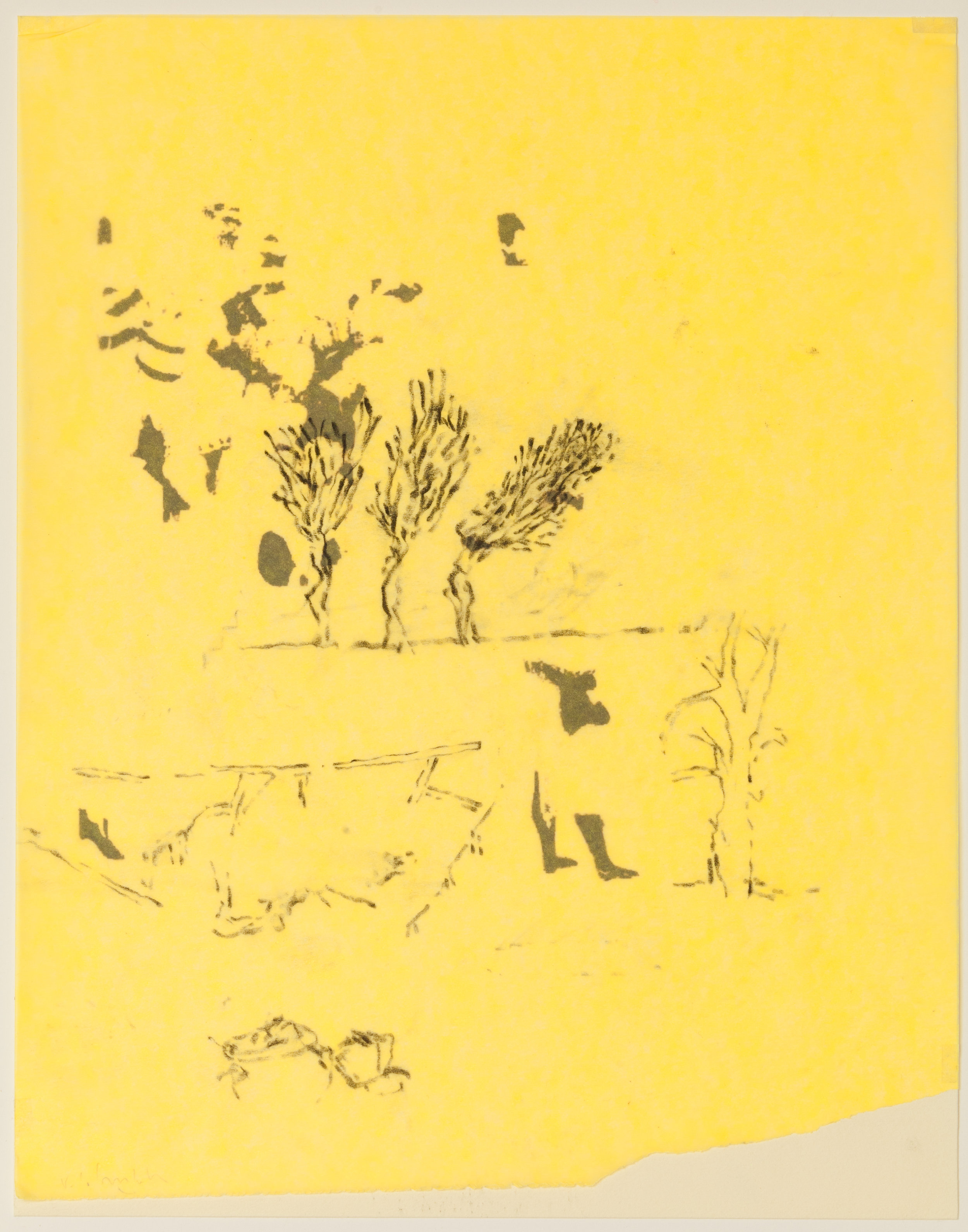 """Très Riches Heures - January/October"""" 2015 Chinese Ink on Rives Paper and graphing on yellow tracing paper Dimension: 10""""5/8 x 8""""1/4 — 27 x 21 cm"""