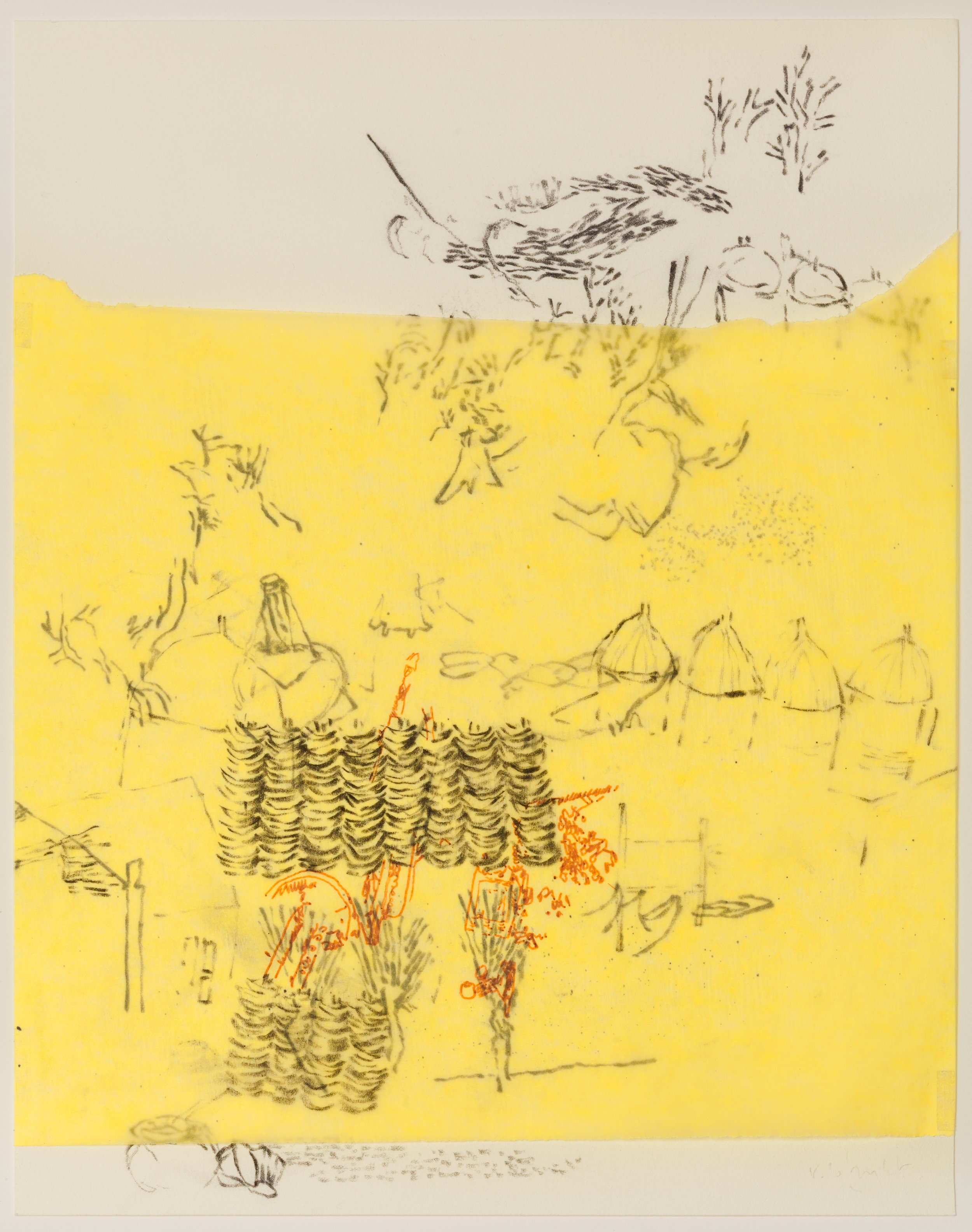 """""""Très Riches Heures - February"""" 2015 Charcoal and Indian Ink on Yellow tracing paper and Vellum Dimension: 10""""1/2 x 8""""1/4 — 27 x 21 cm"""